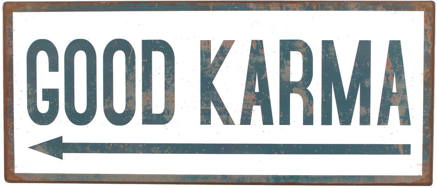 Znak dekoracyjny Good Karma, Metal pokryty folią z motywem, Biały, niebieski, S 31 x W 13 cm