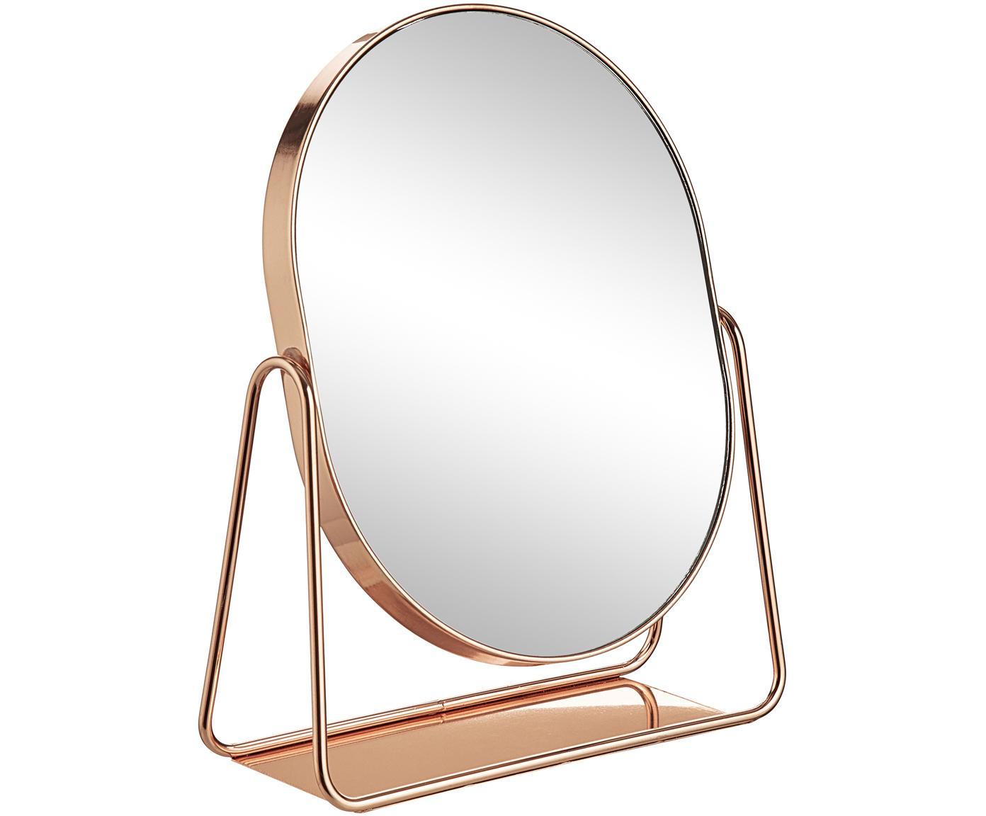 Make-up spiegel Gloria, Gelakt metaal, Roze goudkleurig, 16 x 22 cm
