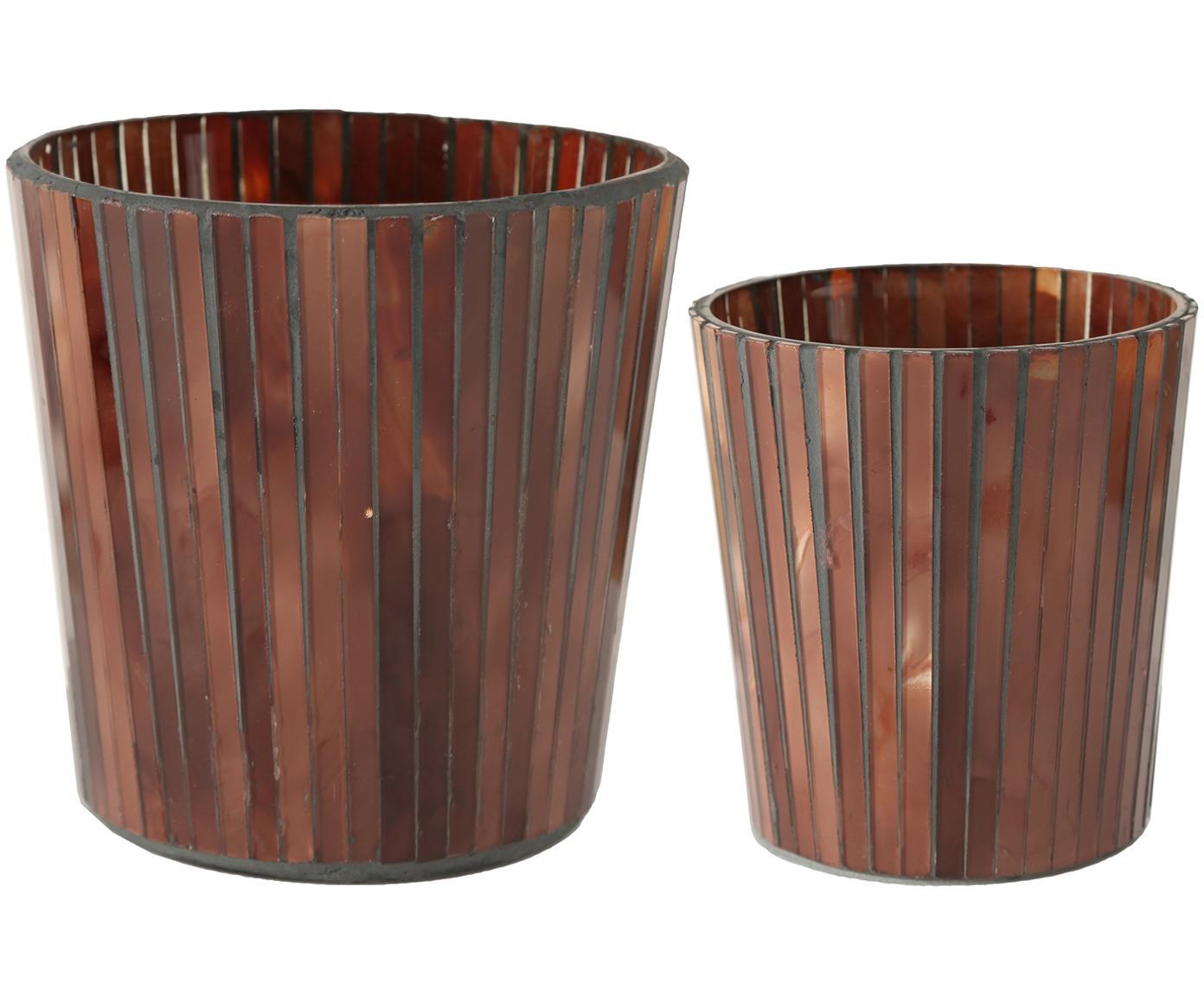 Windlichter-Set Ellis, 2-tlg., Glas, lackiert, Braun, Sondergrößen