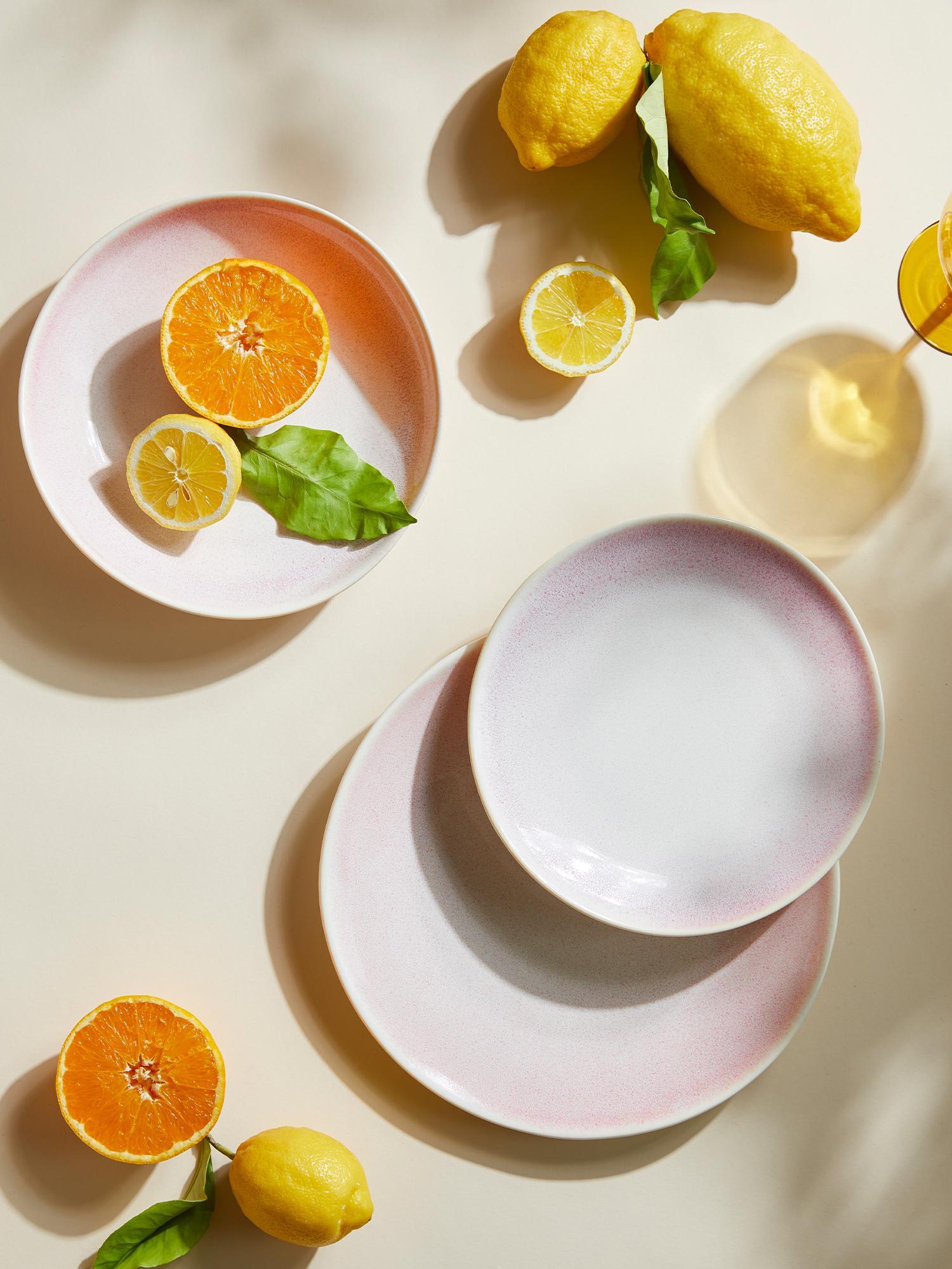 Handgemachte Suppenteller Amalia mit effektvoller Glasur, 2 Stück, Porzellan, Hellrosa, Cremeweiss, Ø 20 cm