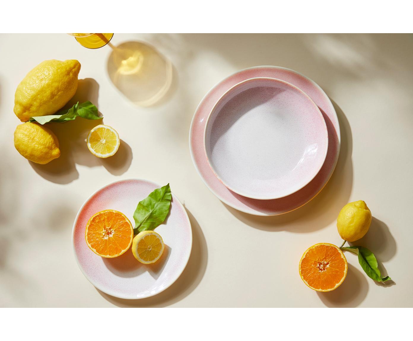 Handgemachte Suppenteller Amalia mit effektvoller Glasur, 2 Stück, Porzellan, Hellrosa, Cremeweiß, Ø 20 cm