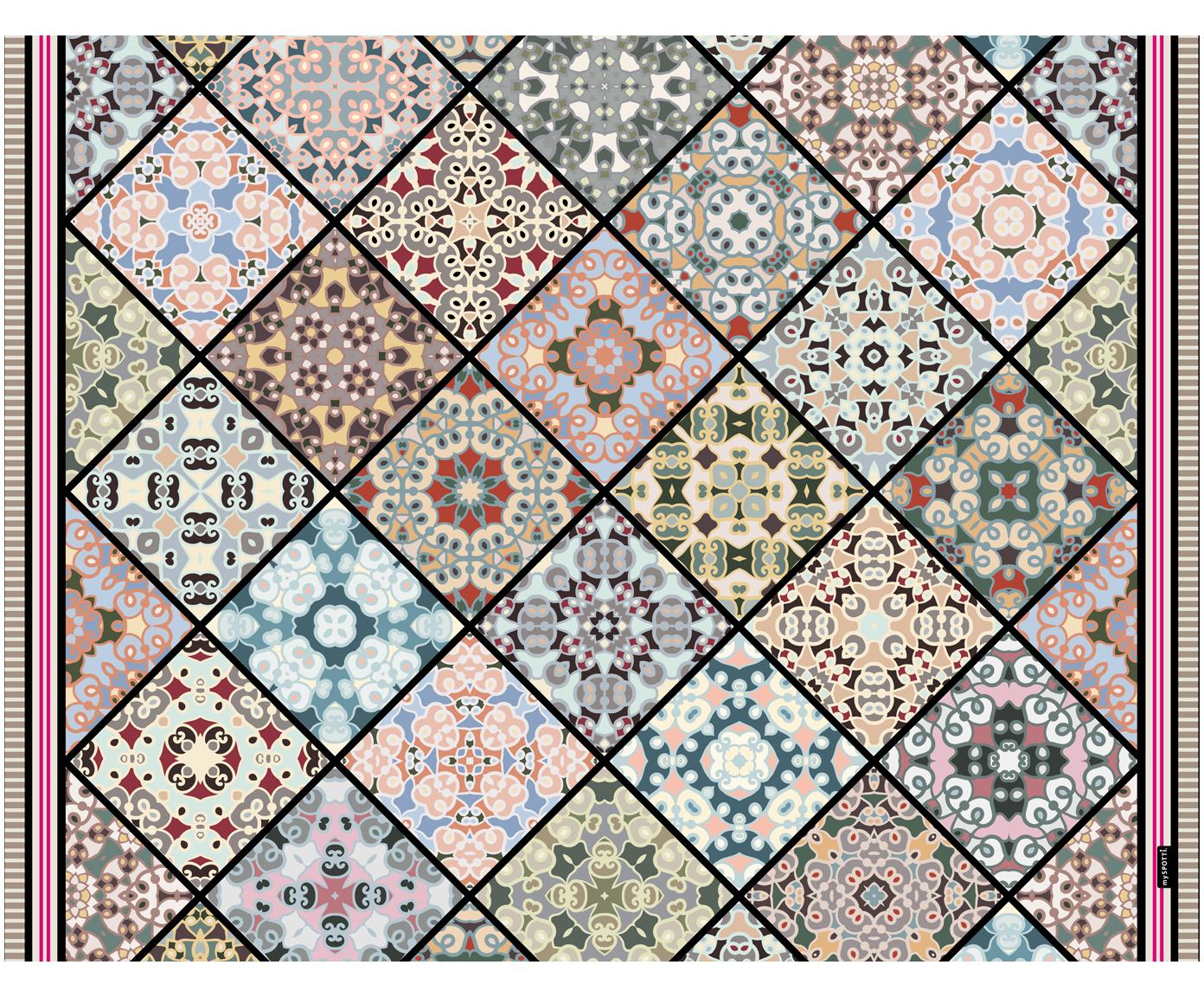 Vinyl vloermat Aylin, Recyclebaar vinyl, Multicolour, 65 x 85 cm