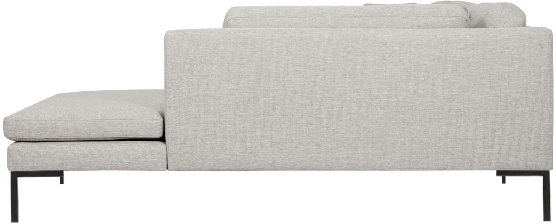 Hoekbank Emma, Bekleding: polyester, Frame: massief grenenhout, Poten: gepoedercoat metaal, Geweven stof beige, poten zwart, B 302 x D 220 cm
