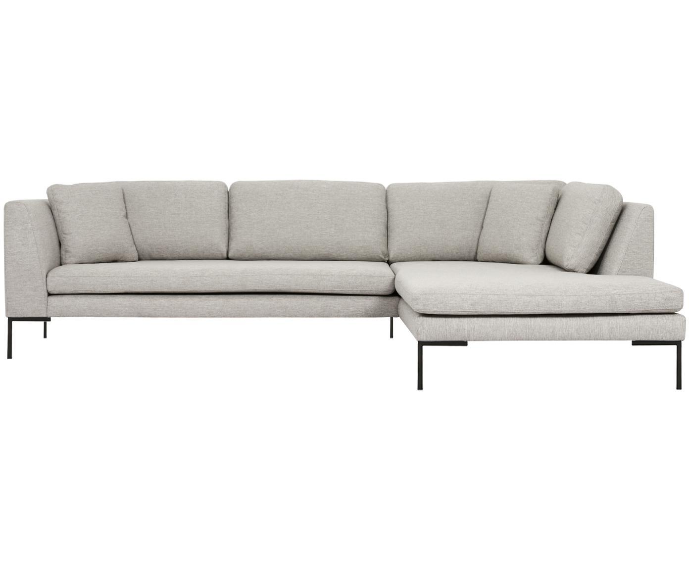 Hoekbank Emma, Bekleding: polyester, Frame: massief grenenhout, Poten: gepoedercoat metaal, Beige, B 302 x D 220 cm