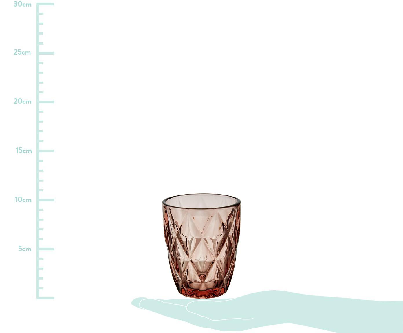 Wassergläser Colorado mit Strukturmuster, 4 Stück, Glas, Rosa, Transparent, ∅ 8 x H 10 cm