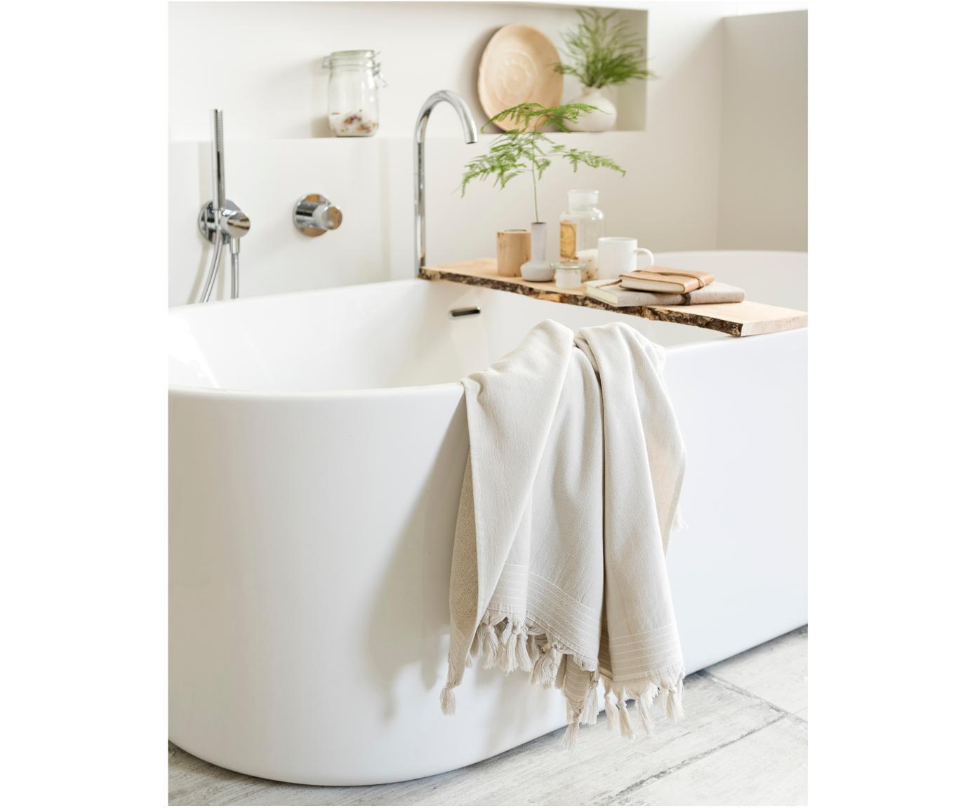 Hamamtuch Soft Cotton mit Frottee-Rückseite, Rückseite: Frottee, Hellbeige, Weiß, 100 x 180 cm
