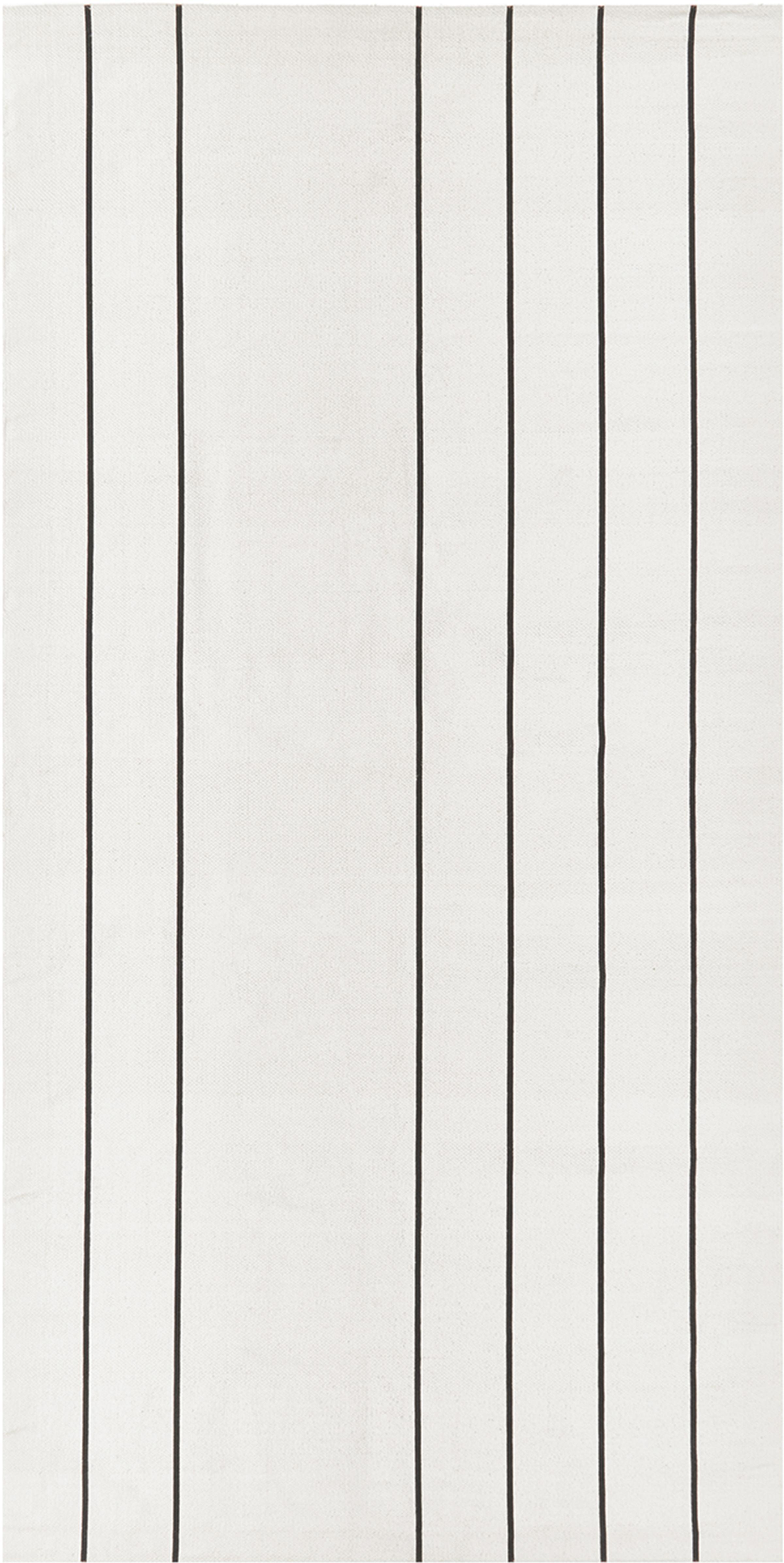 Flachgewebter Baumwollteppich David mit Linien, handgefertigt, 100% Baumwolle, Cremeweiß, Schwarz, B 70 x L 140 cm (Größe XS)