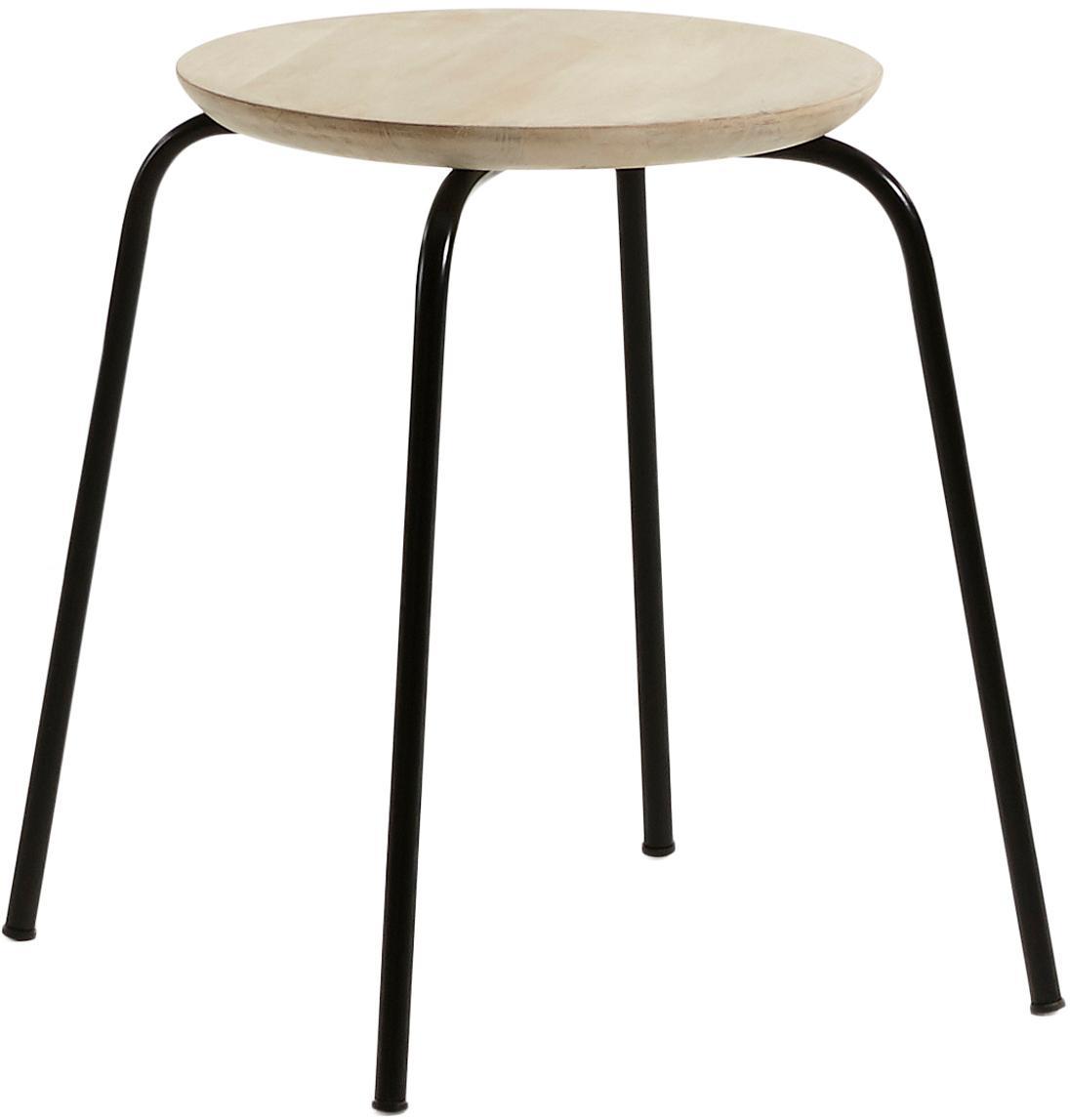 Stołek do układania w stos Ren, Nogi: metal lakierowany, Drewno mangowe, czarny, Ø 40 x W 45 cm