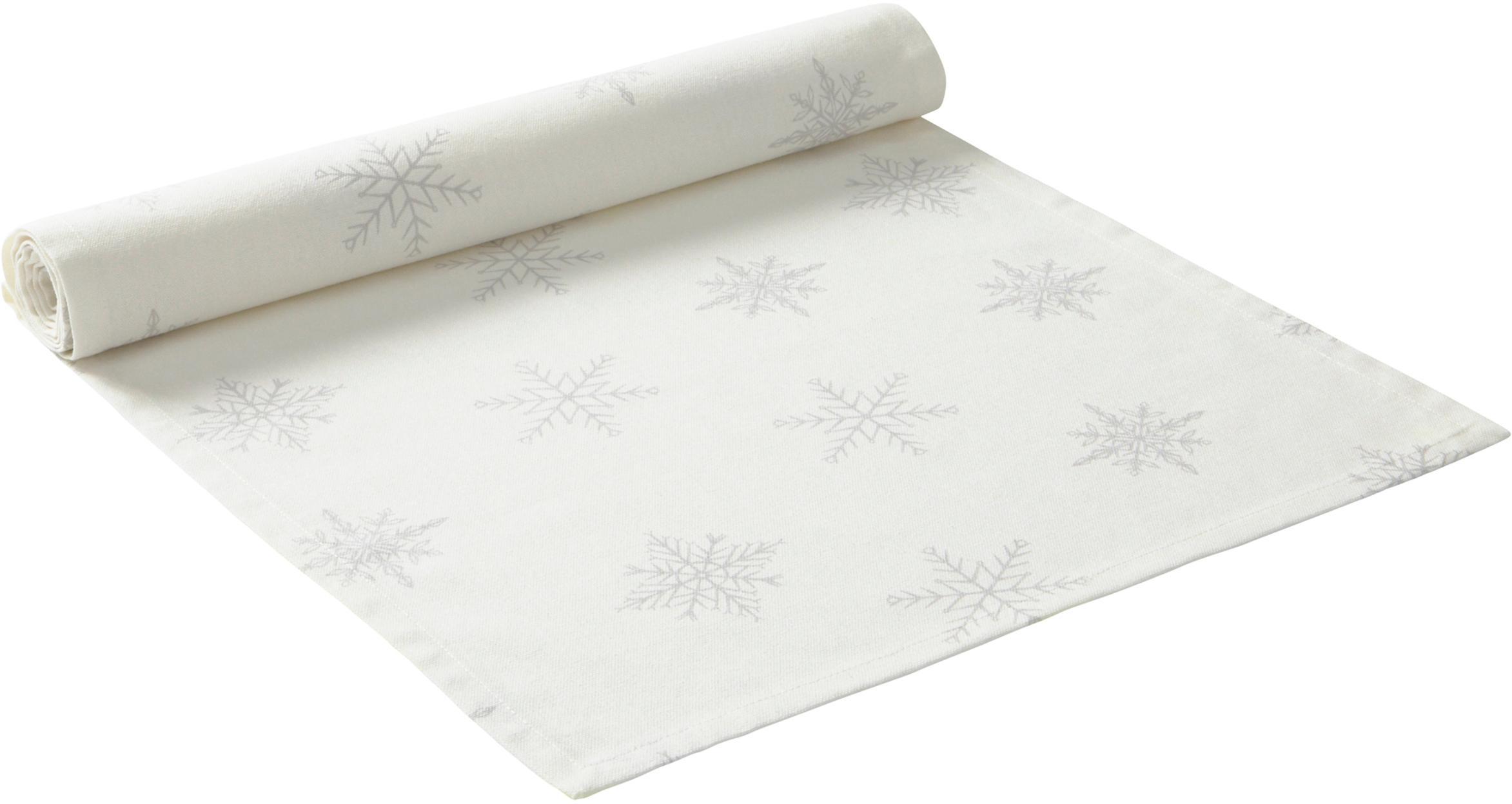 Tafelloper Snow, 100% katoen, afkomstig van duurzame katoenteelt, Crèmewit, lichtgrijs, 40 x 140 cm