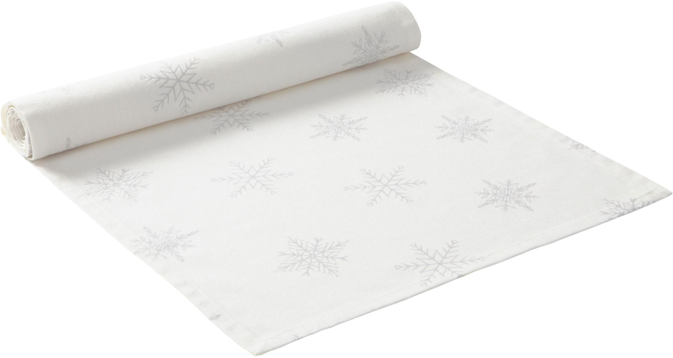 Camino de mesa Snow, 100%algodón de cultivos sostenible de algodón, Blanco crema, gris claro, An 40 x L 140 cm