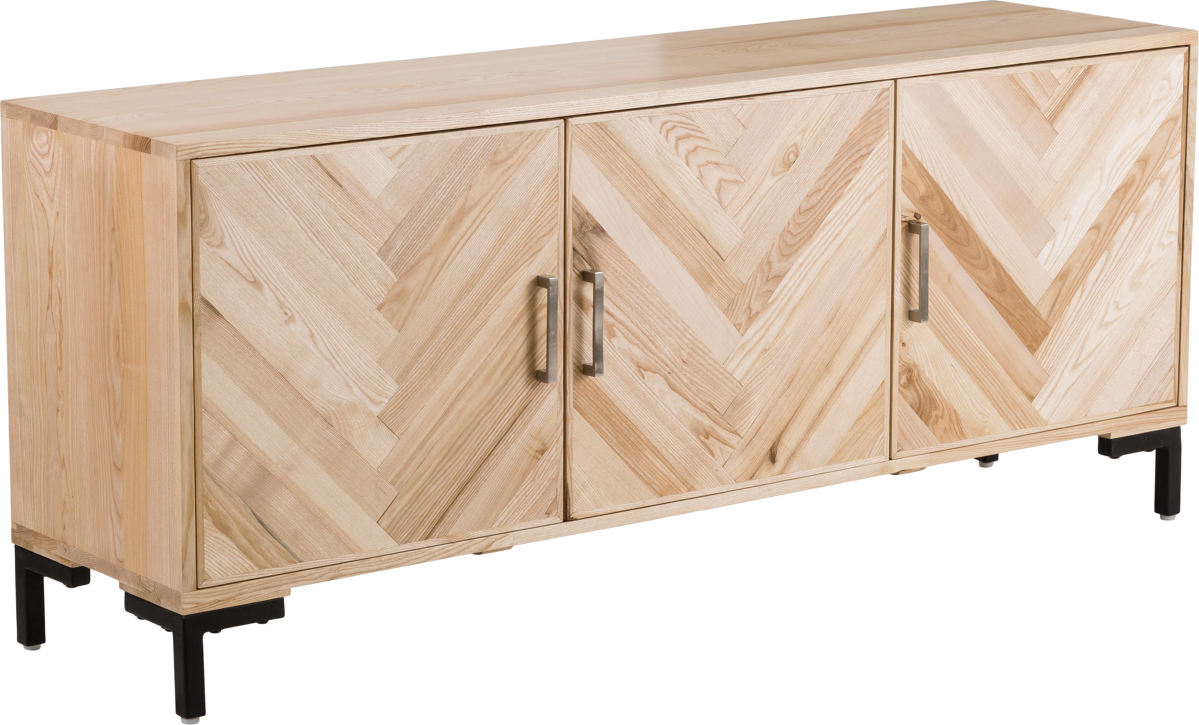 Sideboard Leif aus Massivholz, Korpus: Massives Eschenholz, lack, Griffe: Metall, beschichtet, Eschenholz, 177 x 75 cm