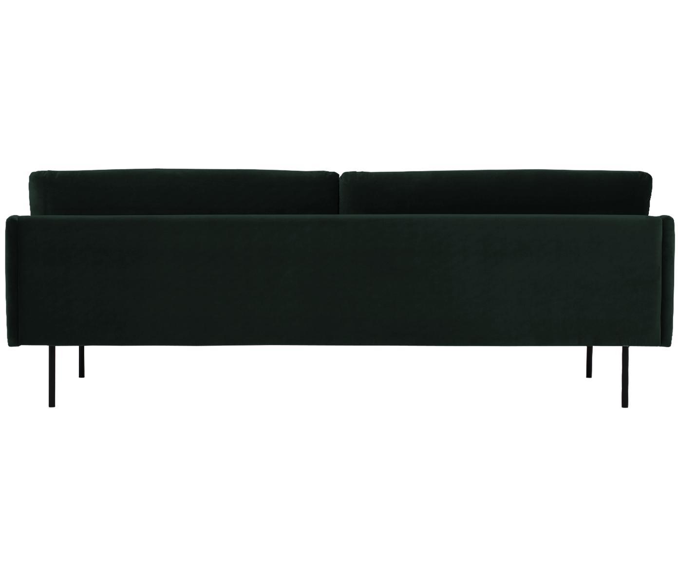 Fluwelen bank Moby (3-zits), Bekleding: fluweel (hoogwaardig poly, Frame: massief grenenhout, Poten: gepoedercoat metaal, Donkergroen, B 220 x D 95 cm