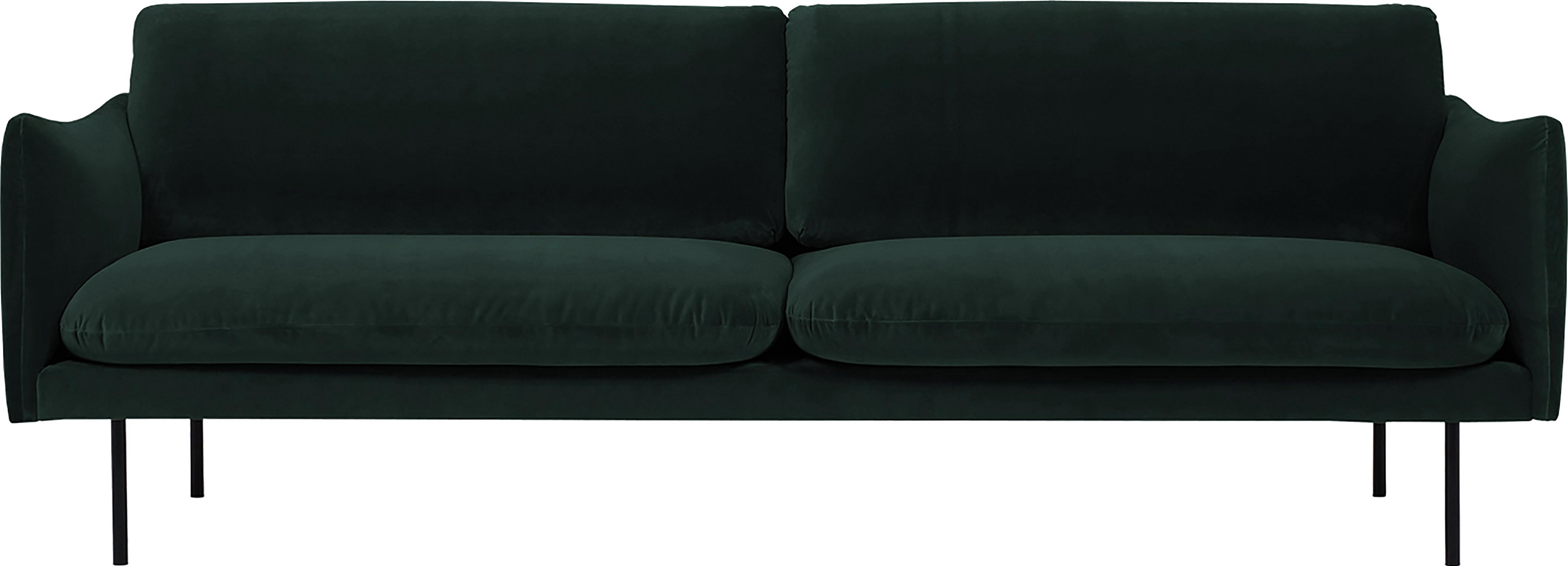 Samt-Sofa Moby (3-Sitzer), Bezug: Samt (Hochwertiger Polyes, Gestell: Massives Kiefernholz, Samt Dunkelgrün, B 220 x T 95 cm
