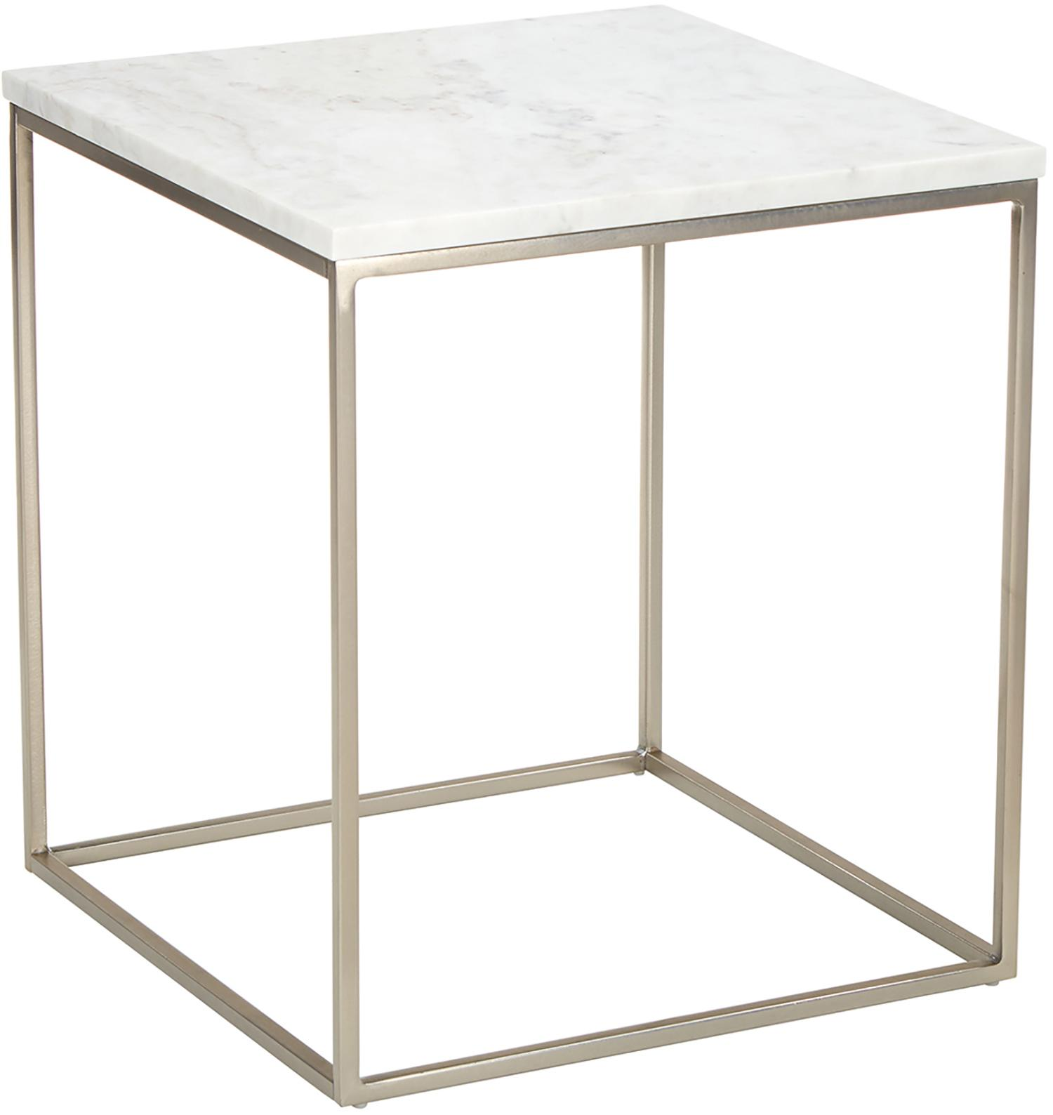 Marmeren bijzettafel Alys, Tafelblad: marmer, Frame: gepoedercoat metaal, Tafelblad: wit-grijs marmer, licht glanzend. Frame: mat zilverkleurig, 45 x 50 cm