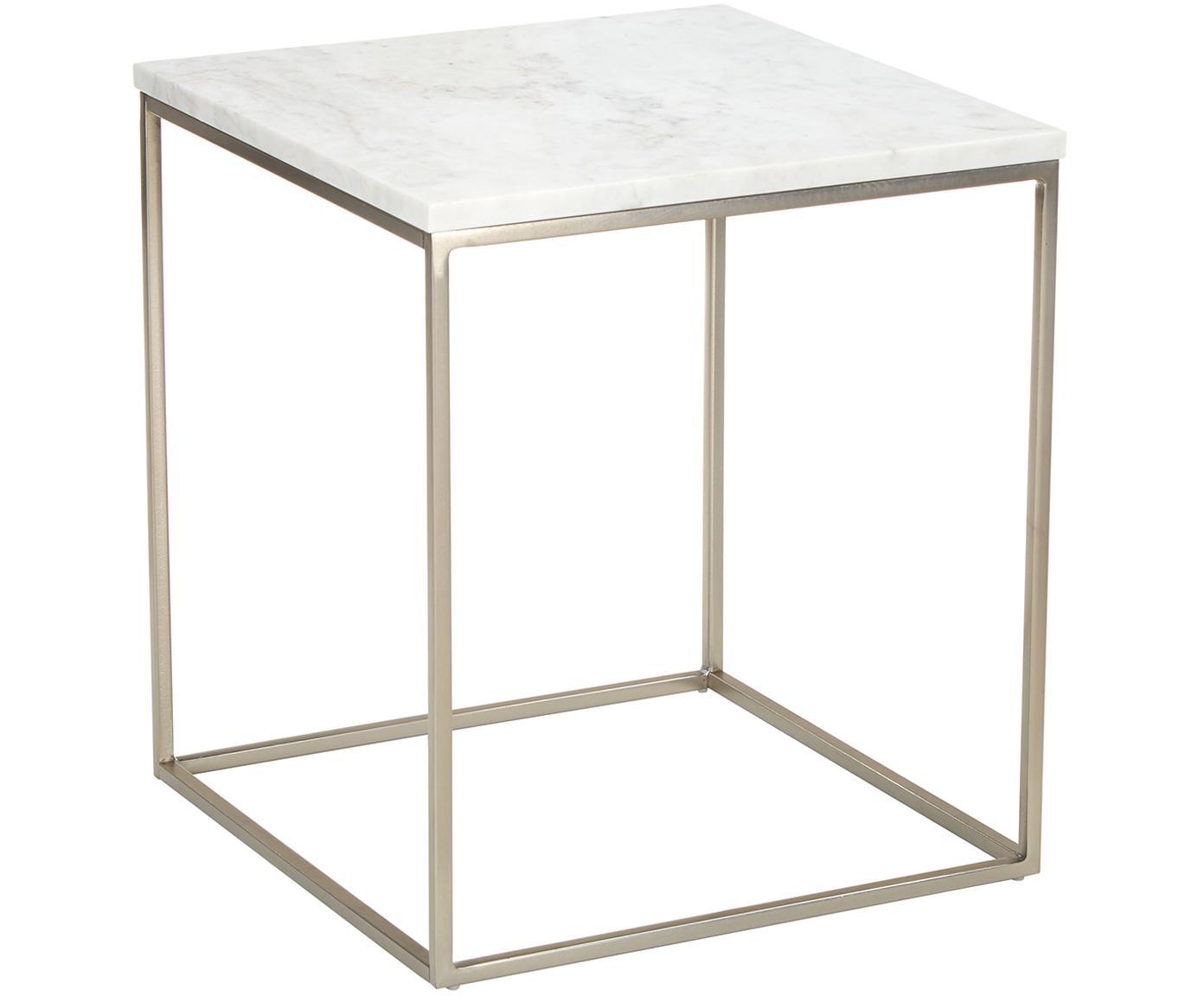 Stolik pomocniczy z marmuru Alys, Blat: marmur, Stelaż: metal malowany proszkowo, Blat: białoszary marmur, lekko błyszczący Stelaż: odcienie srebrnego, matowy, S 45 x W 50 cm