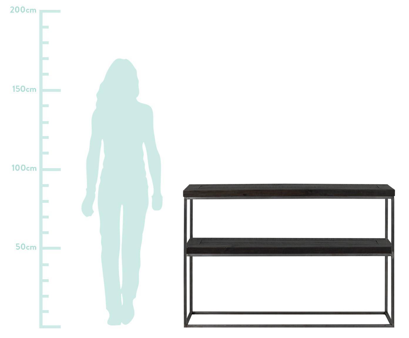 Sidetable Dalton in industrieel ontwerp, Frame: gelakt metaal, Planken: zwart met zichtbare houtstructuur. Frame: grijs, B 121 x D 31 cm