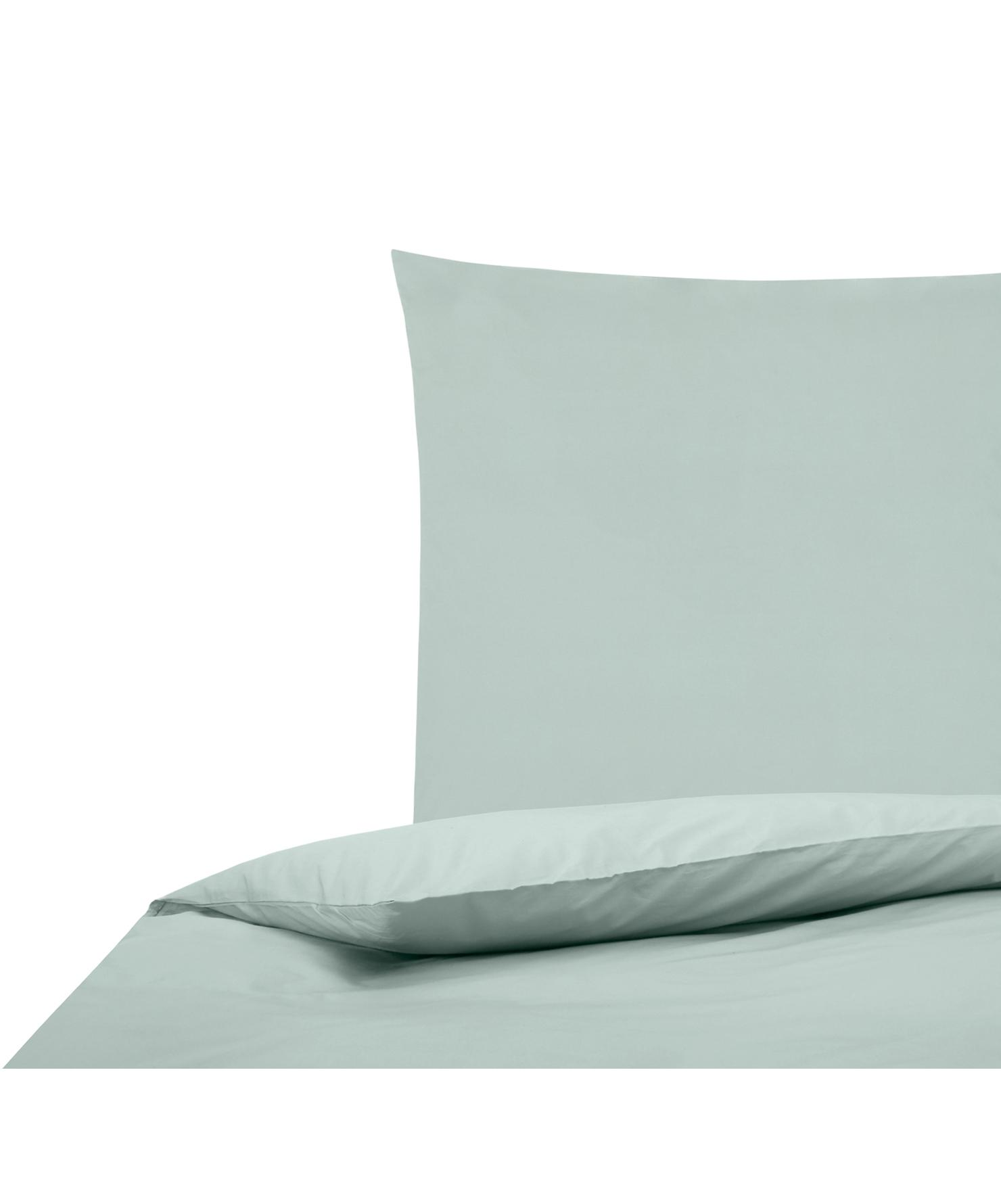 Perkal dekbedovertrek Elsie, Weeftechniek: perkal Draaddichtheid 200, Saliegroen, 140 x 200 cm