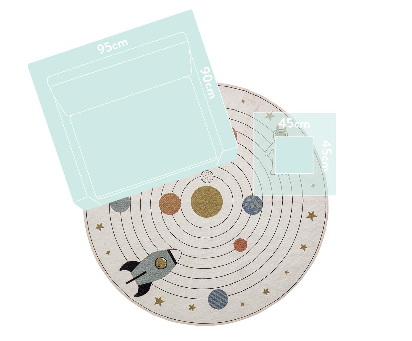 Runder Teppich Space, 98% Baumwolle, 2% gemischte Fasern, Beige, Mehrfarbig, Ø 130 cm (Größe S)