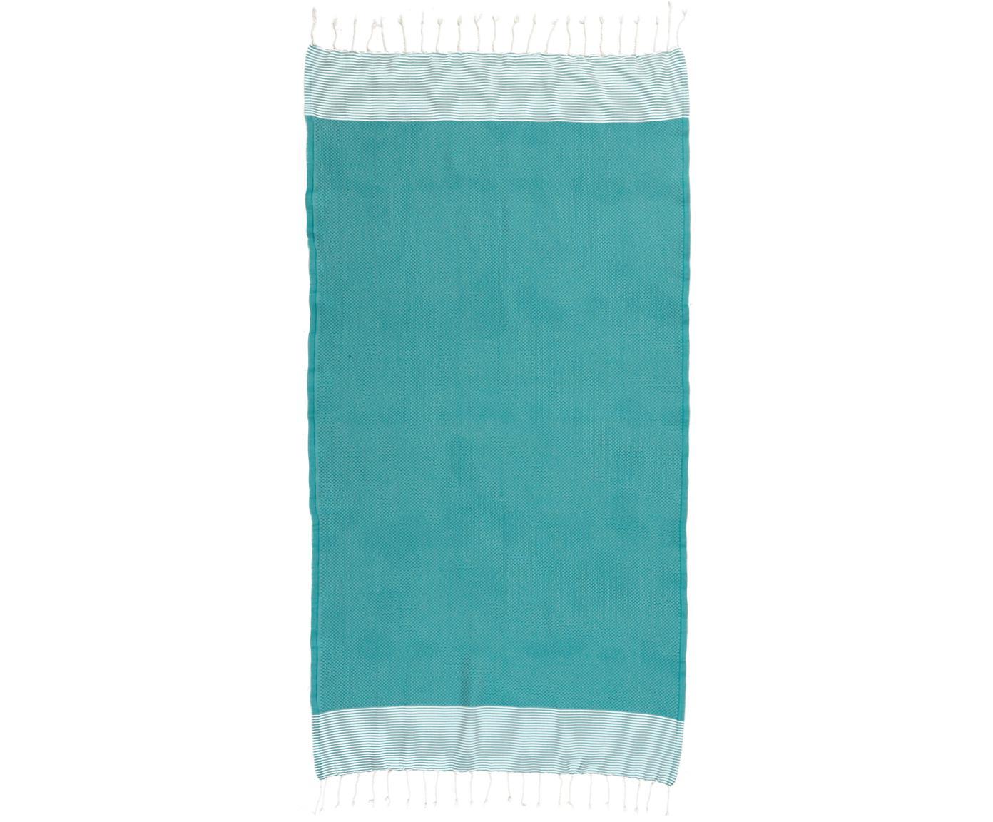 Fouta Ibiza, 100% bawełna, Bardzo niska gramatura, 200 g/m², Niebieskozielony, biały, D 100 x S 200 cm