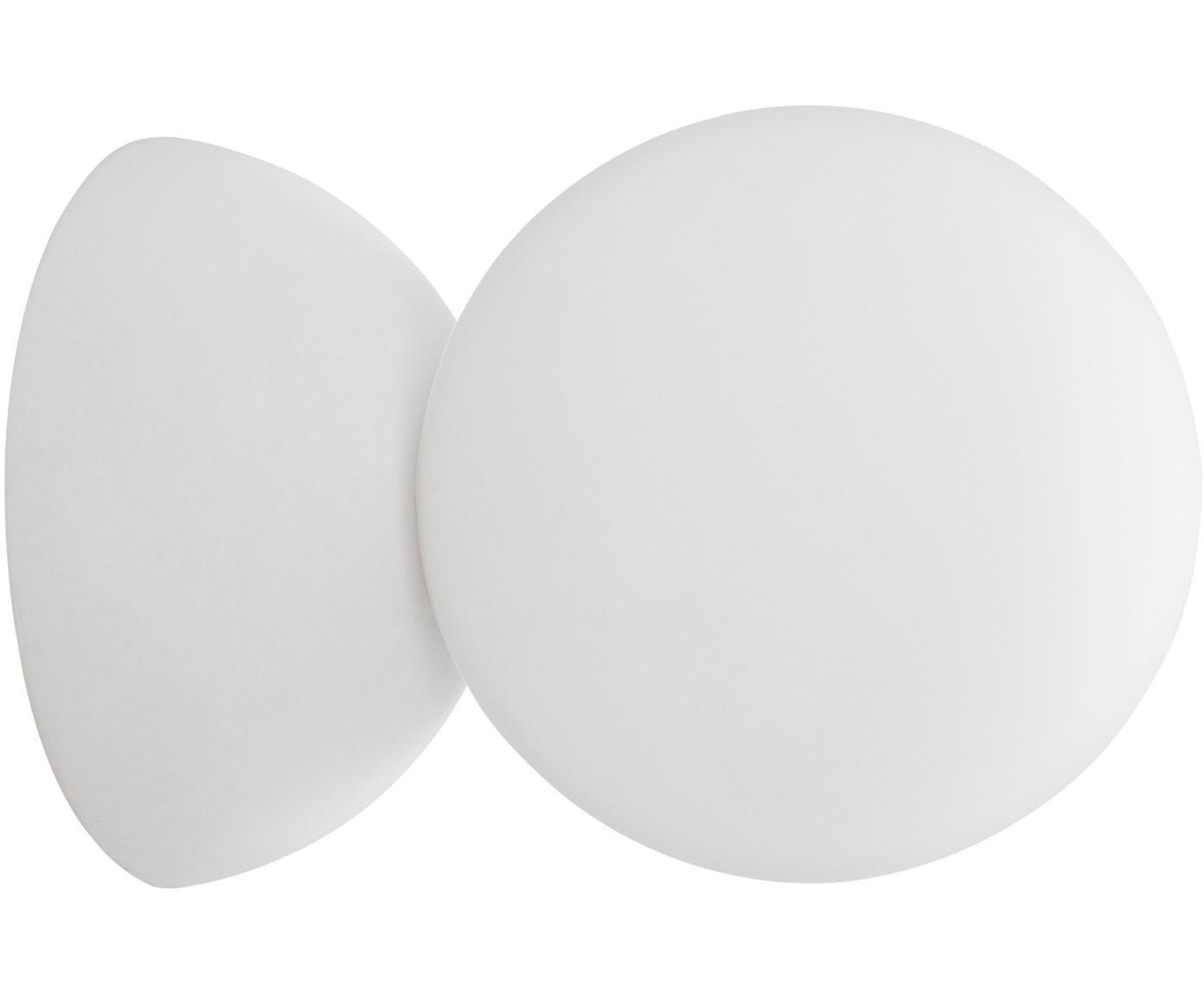 Wandlamp Zero van opaalglas, Lampenkap: opaalglas, Wit, Ø 10 x D 14 cm