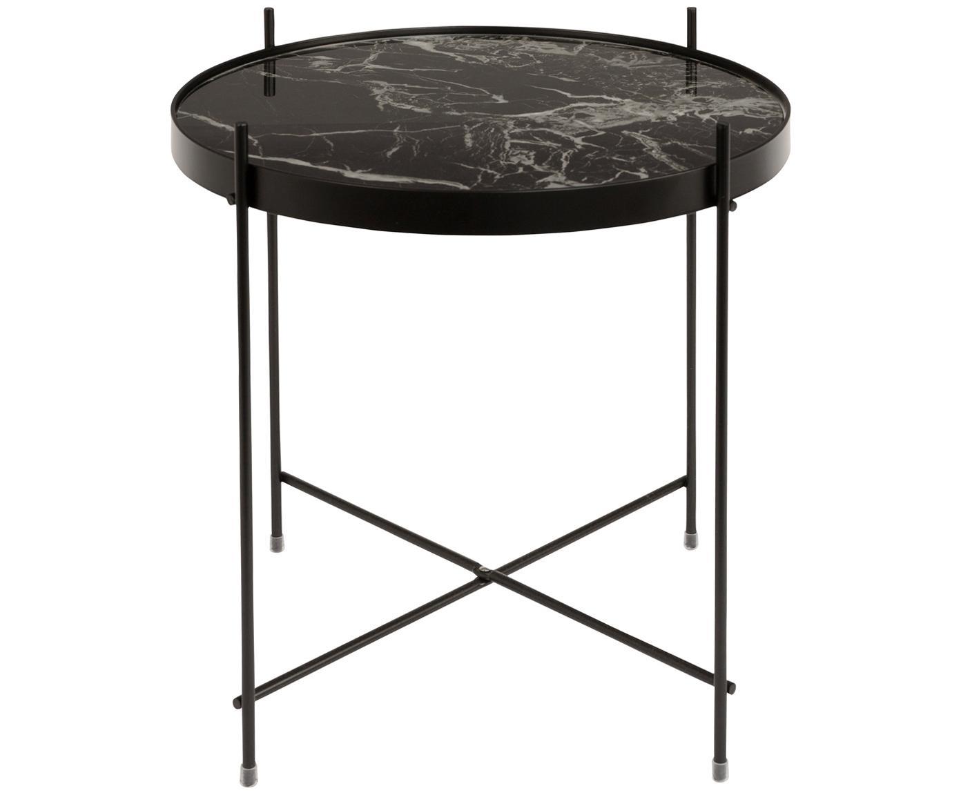 Tavolino-vassoio con piano in vetro Cupid, Struttura: metallo verniciato a polv, Piano d'appoggio: piano in vetro laminato c, Nero, Ø 43 x Alt. 45 cm
