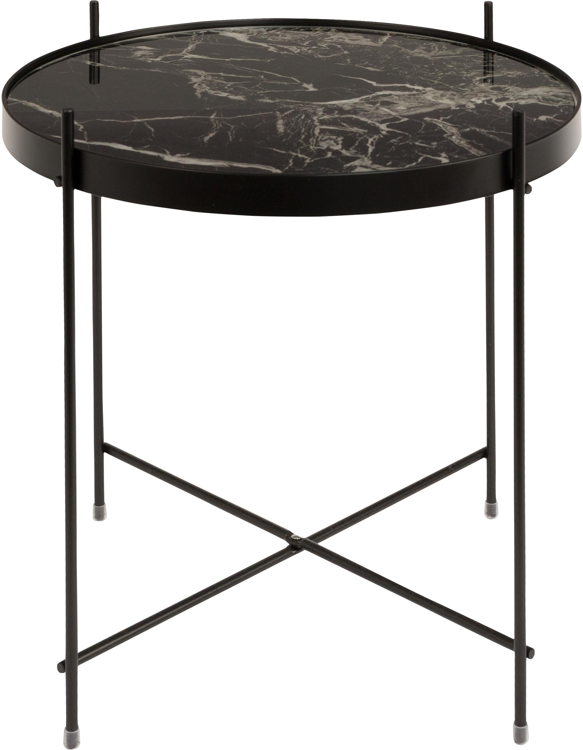 Mesa auxiliar con bandeja de cristal extraíble Cupid, Estructura: metal, pintura en polvo, Tablero: vidrio laminado con efect, Negro, Ø 43 x Al 45 cm