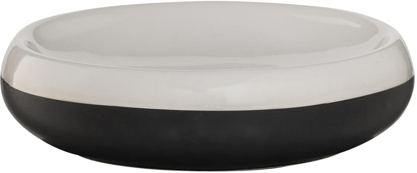 Portasapone Sphere, Porcellana, Nero, bianco, Ø 12 x Alt. 3 cm