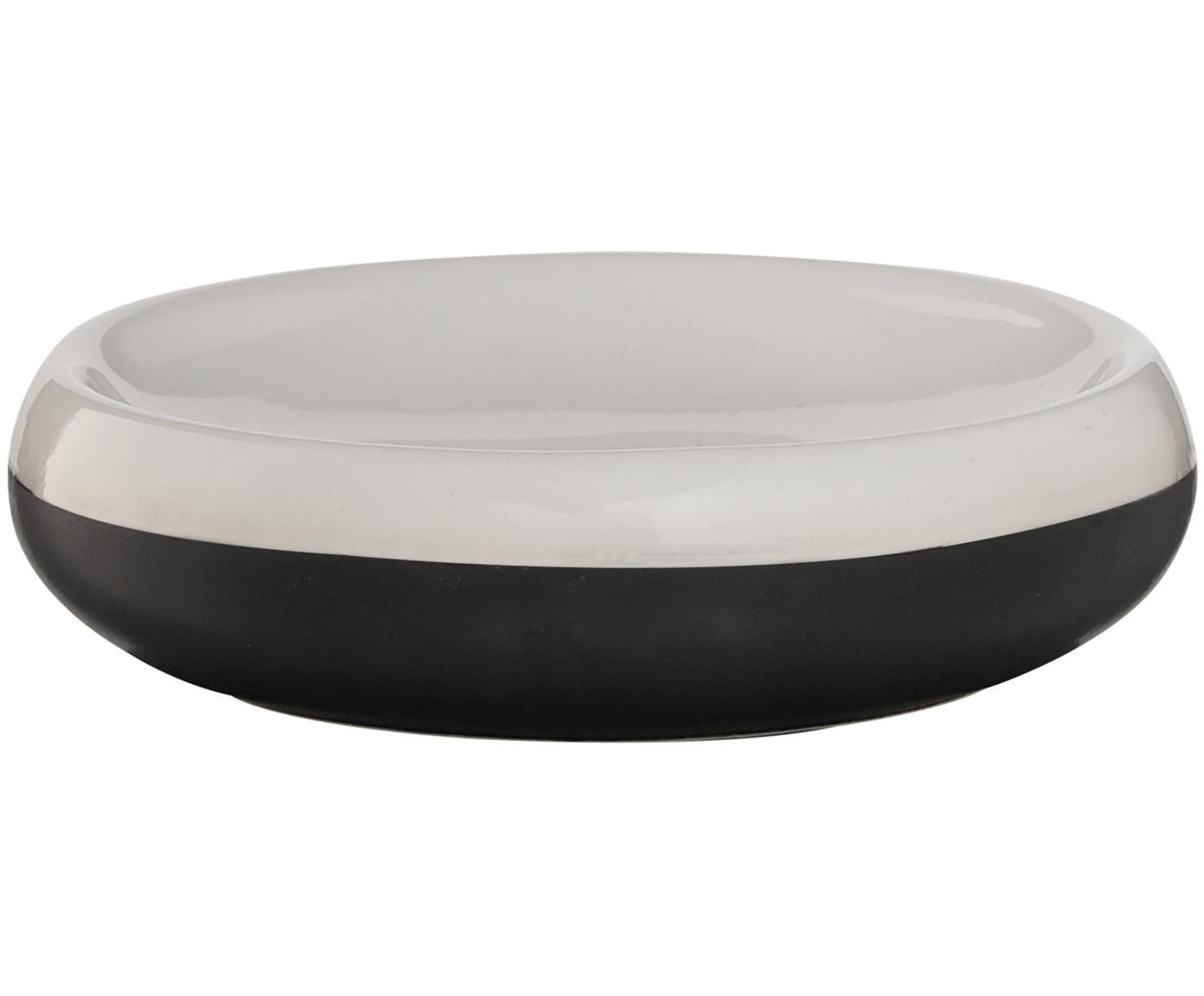 Porzellan-Seifenschale Sphere, Porzellan, Schwarz, Weiß, Ø 12 x H 3 cm