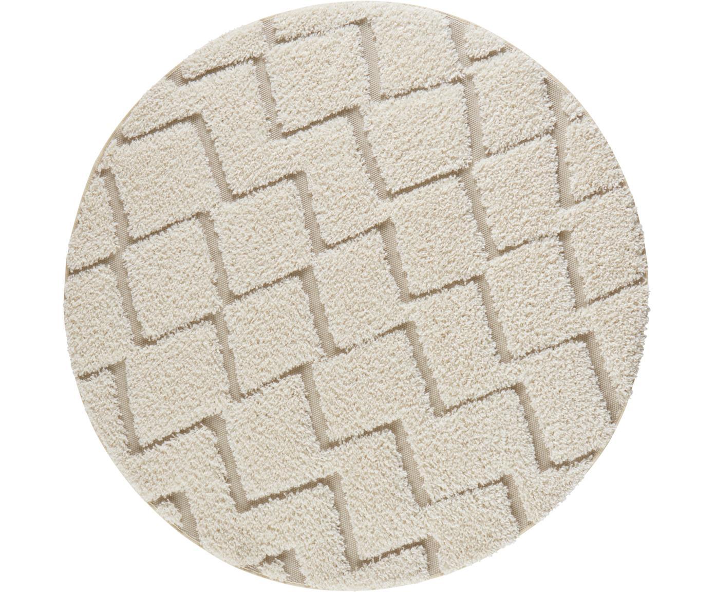 Alfombra redonda texturizada de interior/exterior Dades, Crema, beige, Ø 160 cm (Tamaño L)