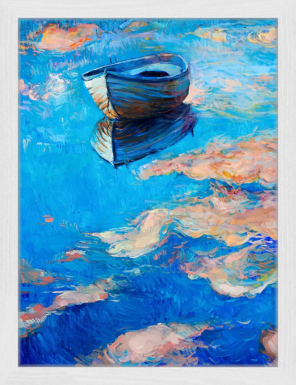 Gerahmter Digitaldruck Boat, Bild: Digitaldruck auf Papier, , Rahmen: Holz, lackiert, Front: Plexiglas, Mehrfarbig, 33 x 43 cm