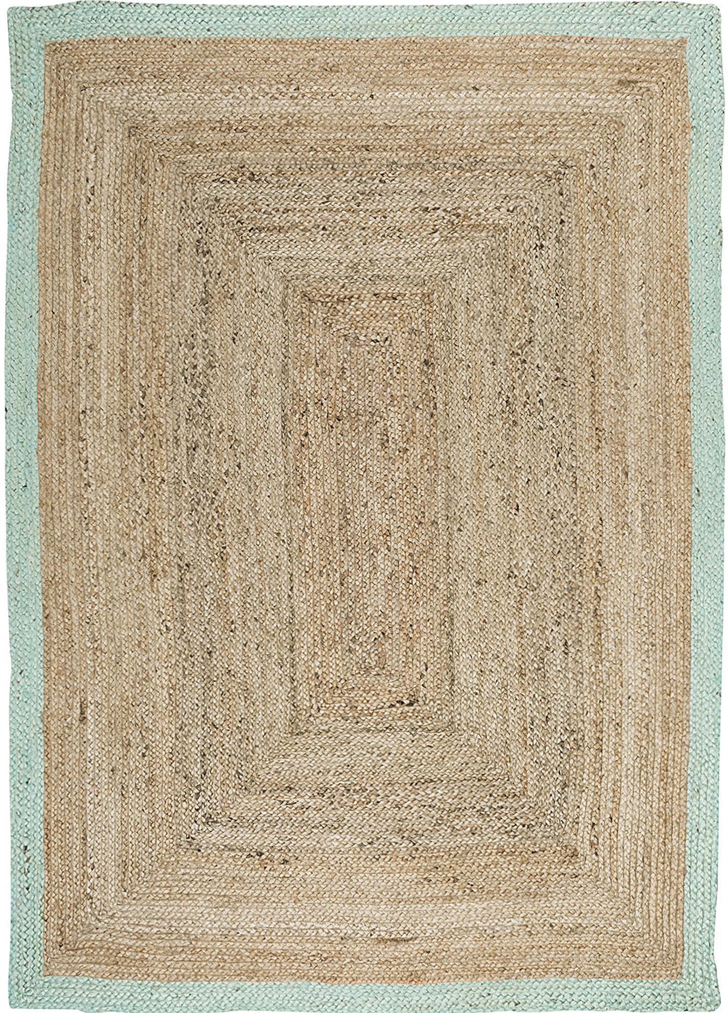 Handgefertigter Jute-Teppich Shanta mit mintgrünem Rand, Jute, Mintgrün, B 120 x L 180 cm (Grösse S)