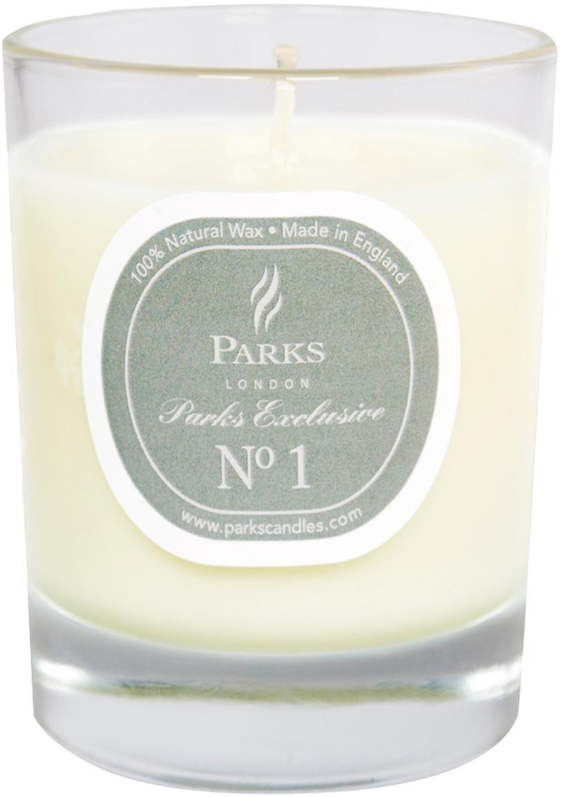 Candela profumata Exclusive No 1 (legno di sandalo e vaniglia), Trasparente, bianco, grigio, Ø 8 x A 9 cm
