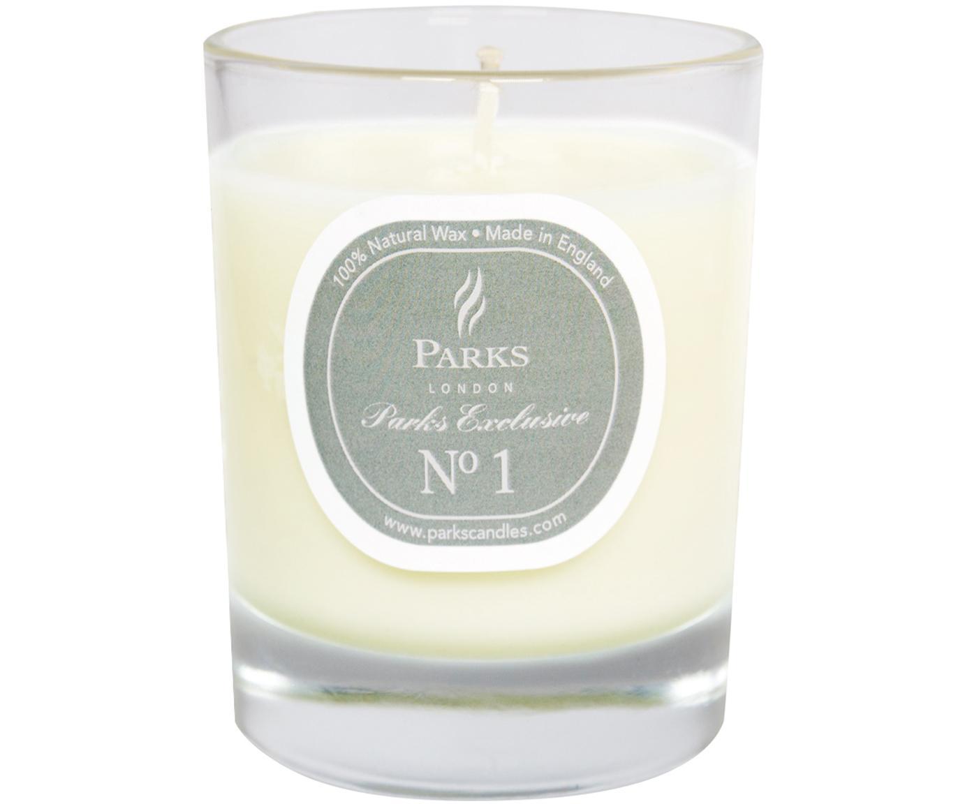 Świeca zapachowa Exclusive No 1 (drzewo sandałowe i wanilia), Transparentny, biały, szary, Ø 8 x W 9 cm