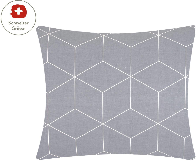 Baumwoll-Kissenbezug Lynn mit grafischem Muster, Webart: Renforcé Fadendichte 144 , Grau, Cremeweiss, 65 x 65 cm