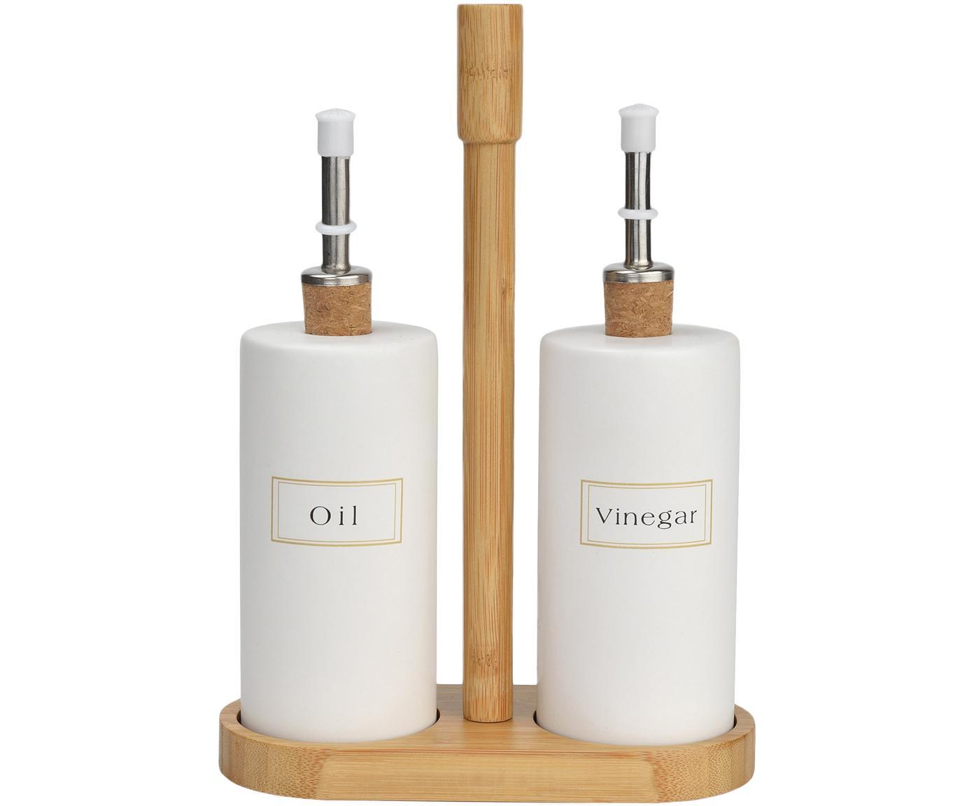 Set olio e aceto con supporto in bambù Lamina 3 pz, Ceramica, bambù, Bianco, bambù, Diverse dimensioni