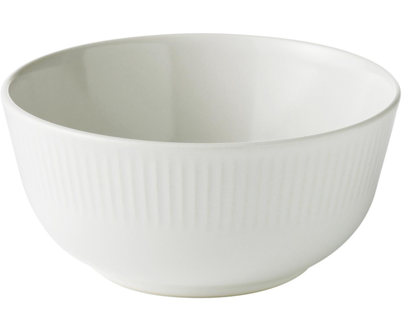 Weiße Schälchen Groove mit Rillenstruktur, 4 Stück, Steingut, Weiß, Ø 15 x H 7 cm