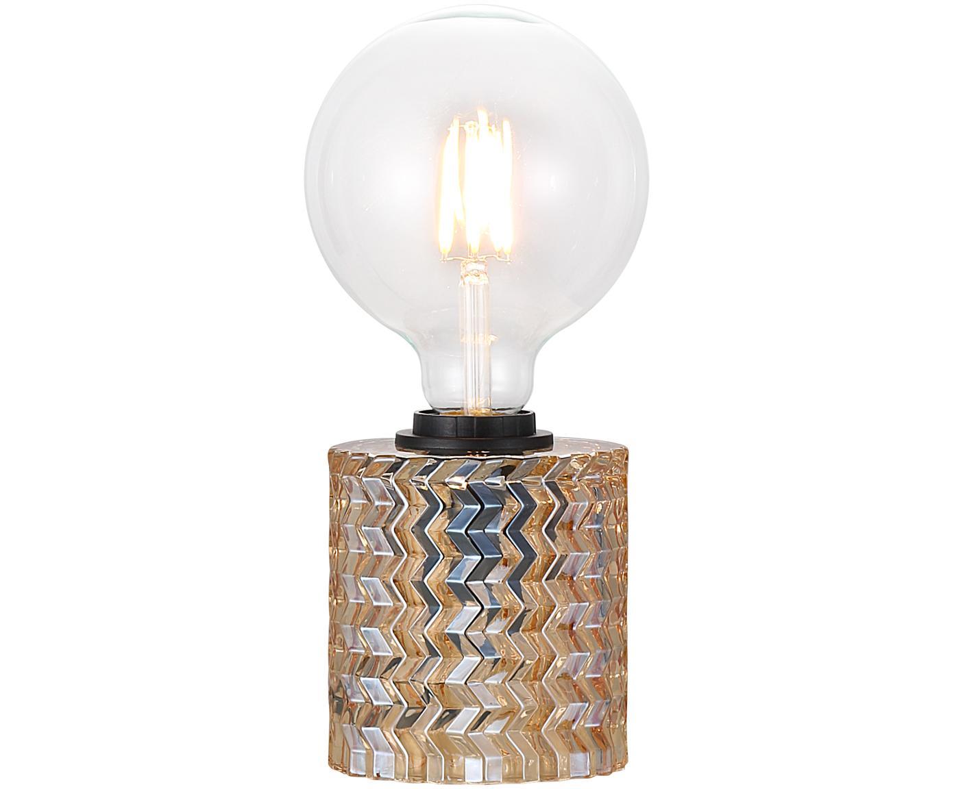 Tafellamp Hollywood van glas, Fitting: kunststof, Amberkleurig, Ø 11 x H 13 cm