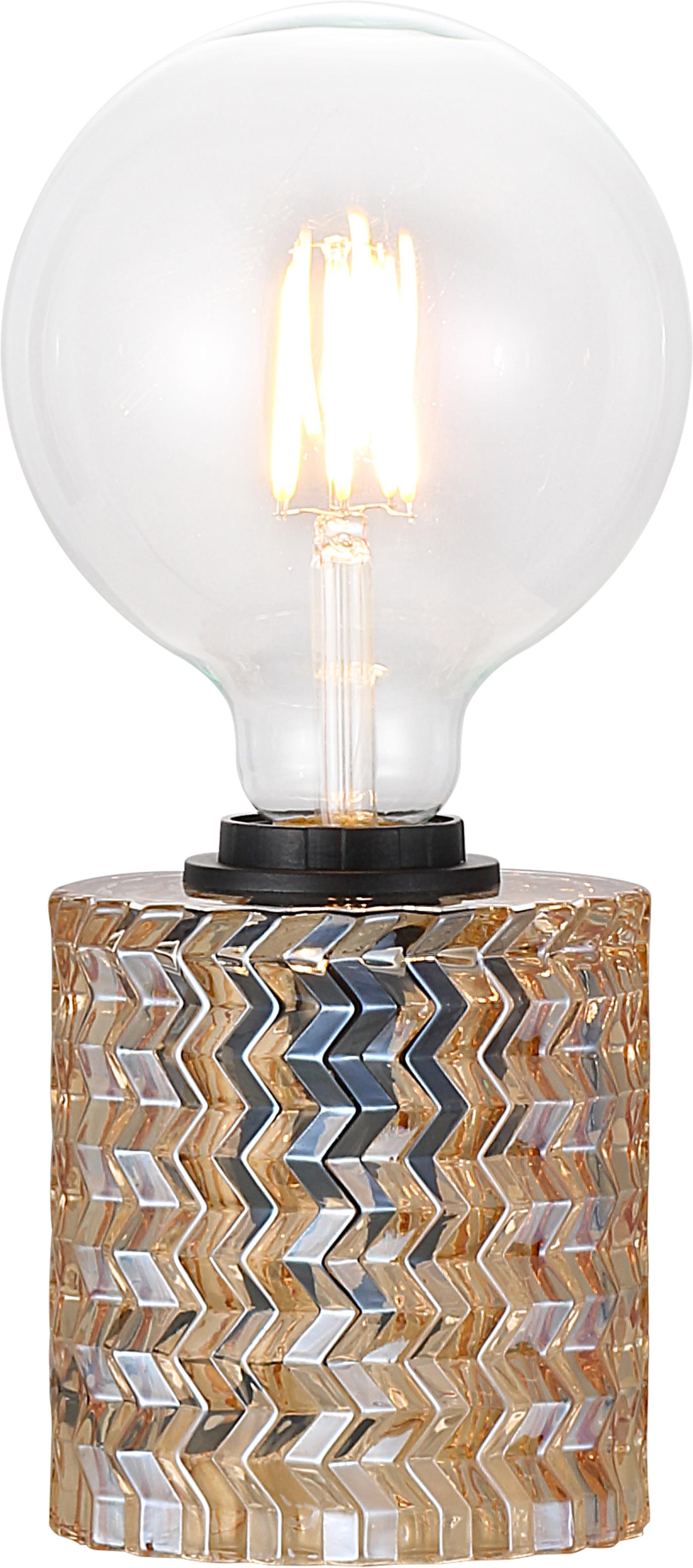 Lámpara de mesa de vidrio Hollywood, Cable: cubierto en tela, Dorado, Ø 11 x Al 13 cm