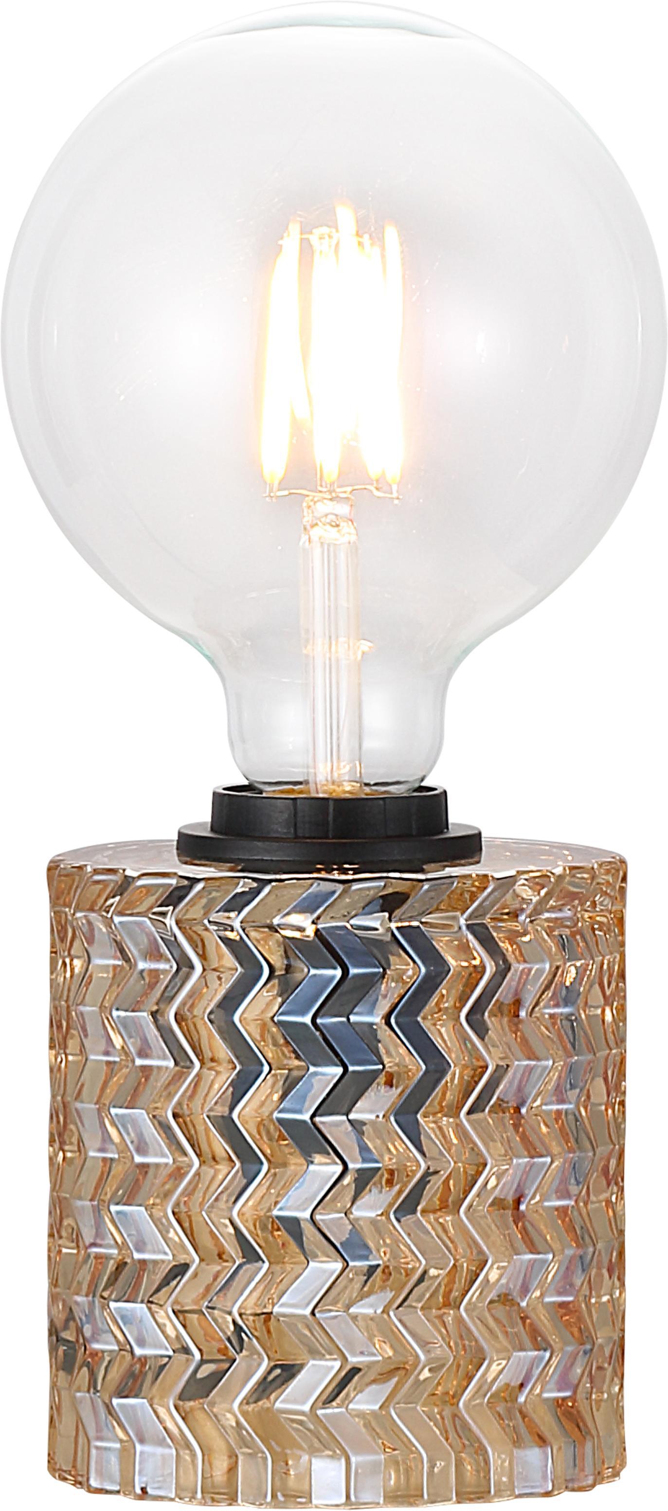 Tischlampe Hollywood aus Glas, Gold, Ø 11 x H 13 cm