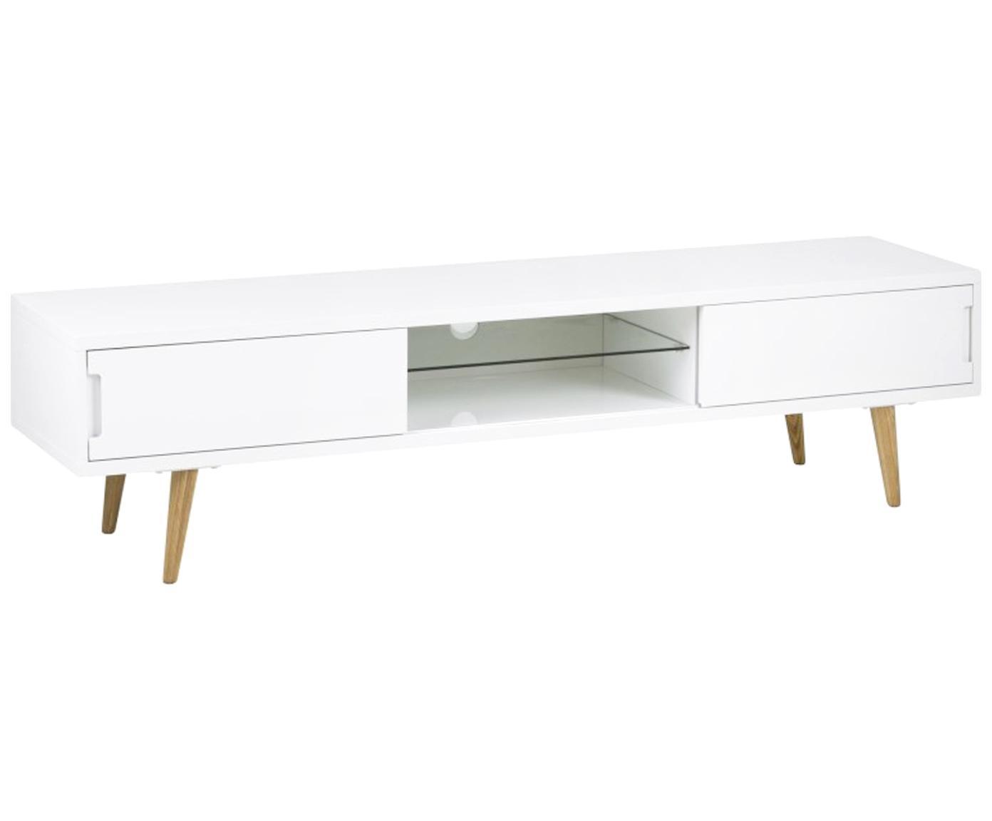 Mobile TV in bianco lucido Cassie, Gambe: legno di frassino massicc, Ripiano: vetro, Bianco, marrone, Larg. 180 x Alt. 46 cm