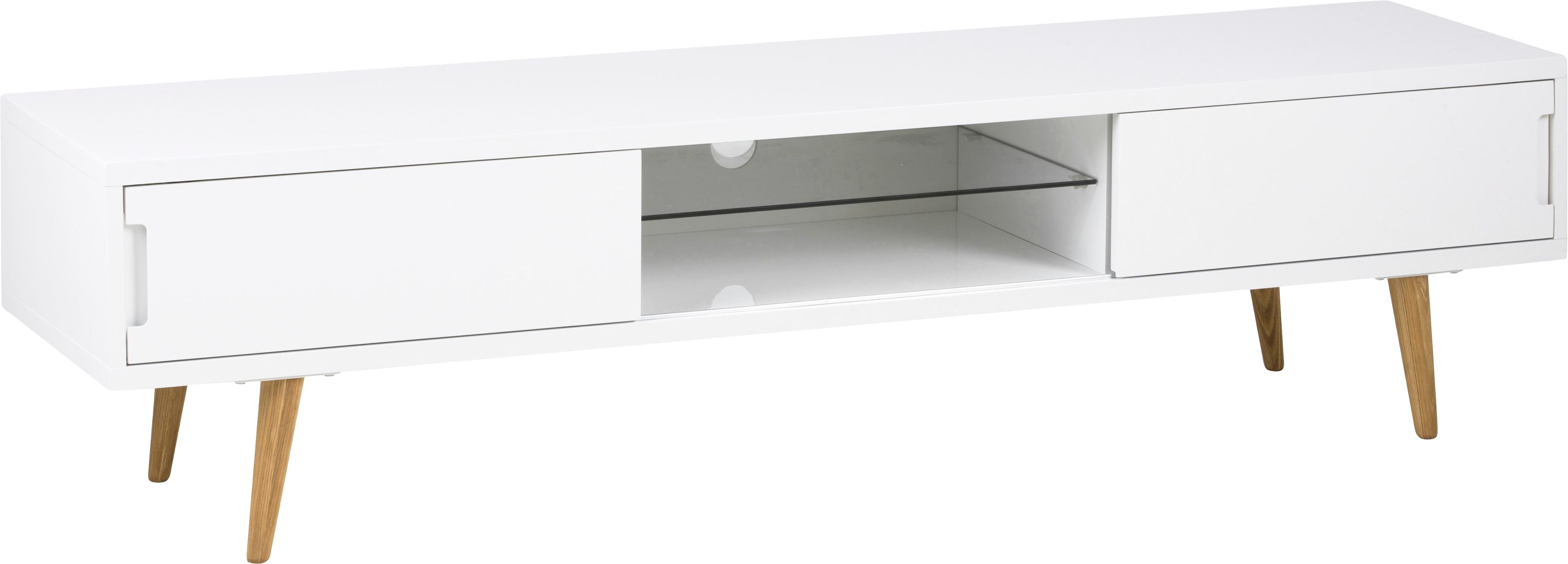 Mueble TV Cassie, Patas: madera de fresno maciza, , Estante: vidrio, Blanco, roble, An 180 x Al 46 cm