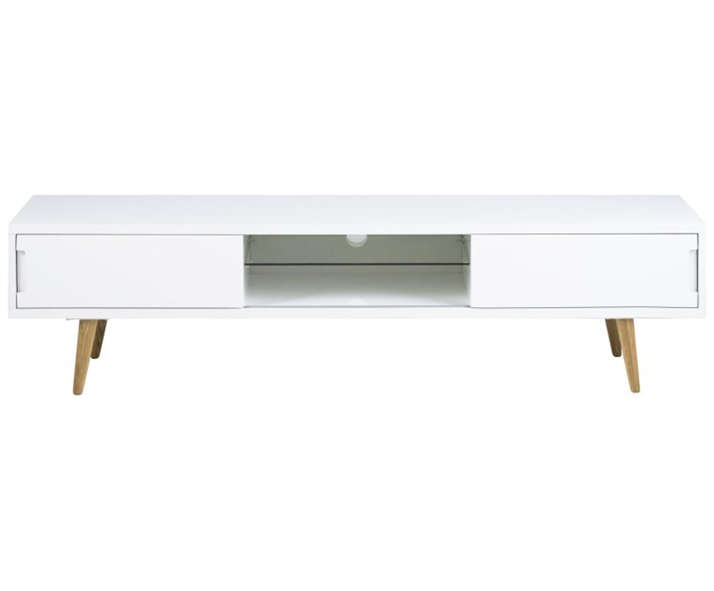 Tv-meubel Cassie in wit hoogglans, Poten: massief en geolied essenh, Plank: glas, Wit, bruin, 180 x 46 cm