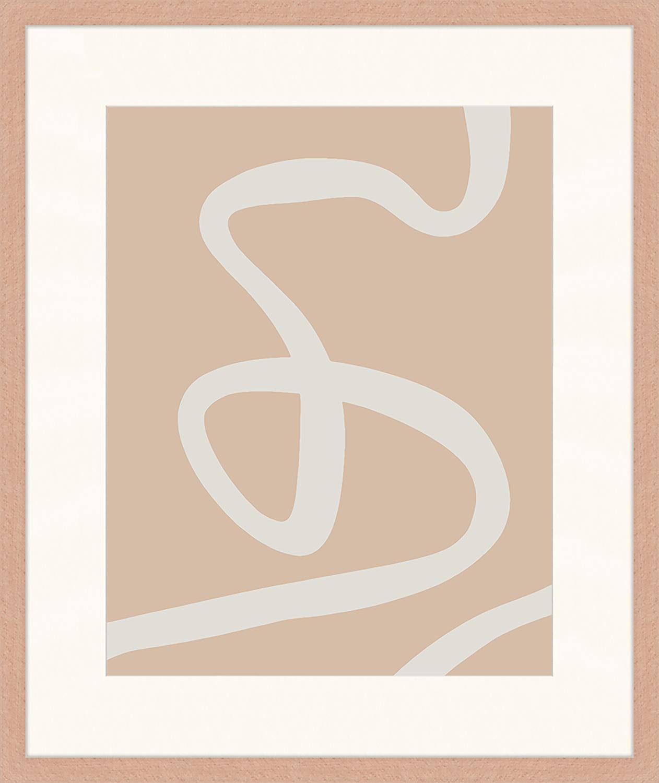 Oprawiony druk cyfrowy Abstract Beige Drawing, Brązowy, biały, S 53 x W 63 cm