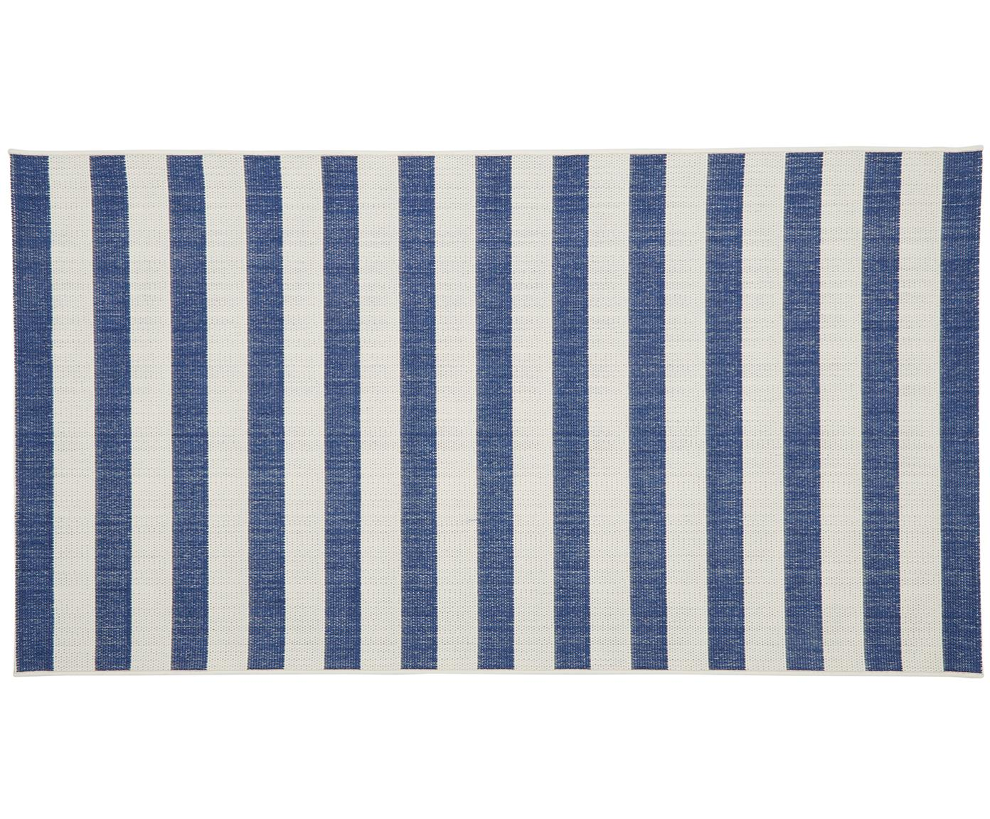 Gestreept in- & outdoor vloerkleed Axa in blauw/wit, Bovenzijde: polypropyleen, Onderzijde: polyester, Crèmewit, blauw, B 80 x L 150 cm (maat XS)