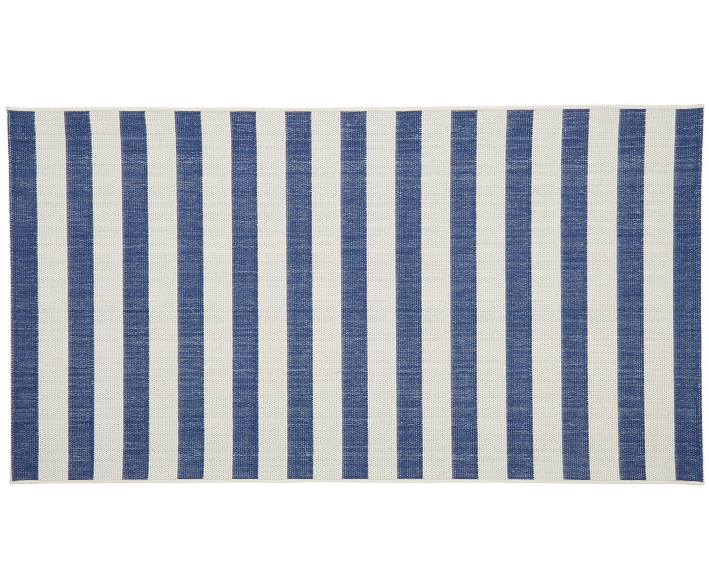 Tappeto da interno-esterno a righe Axa, Retro: poliestere, Bianco crema, blu, Larg. 80 x Lung. 150 cm (taglia XS)