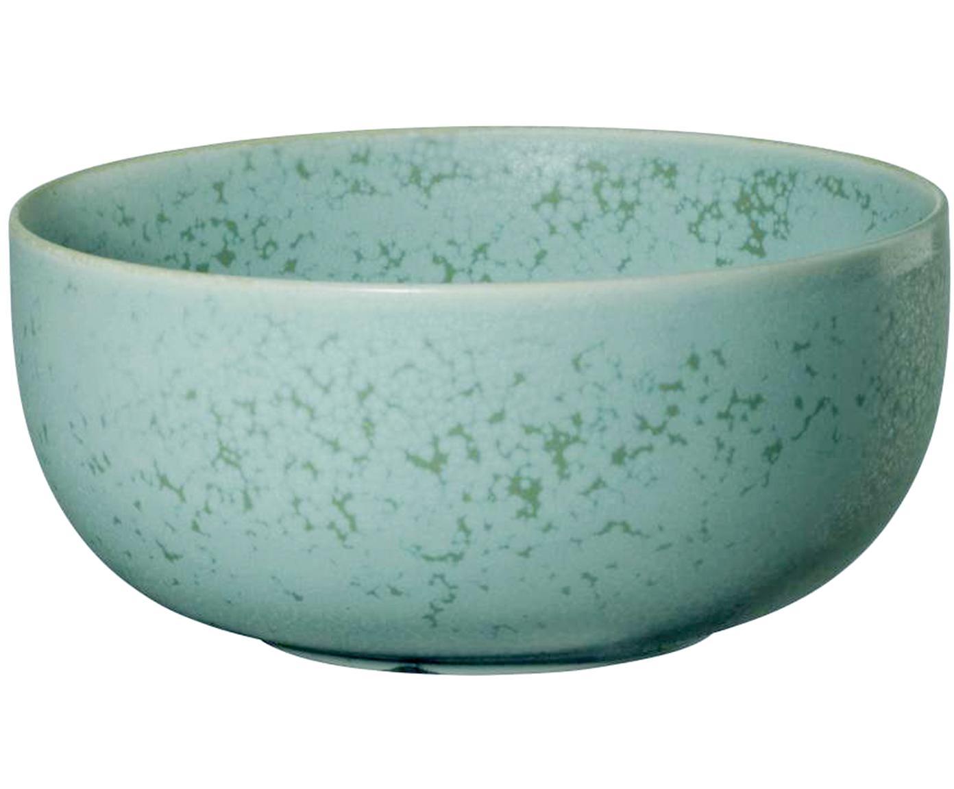 Handgefertigte Schälchen Coppa in Mintgrün und braun gesprenkelt, 2 Stück, Porzellan, Mintgrüntöne, Ø 14 cm