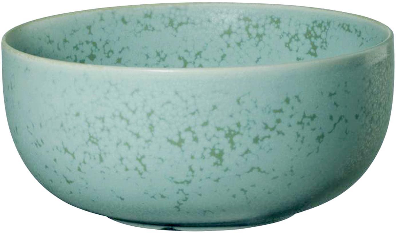 Handgemachte Schälchen Coppa in Mintgrün gesprenkelt, 2 Stück, Porzellan, Mintgrüntöne, Ø 14 cm