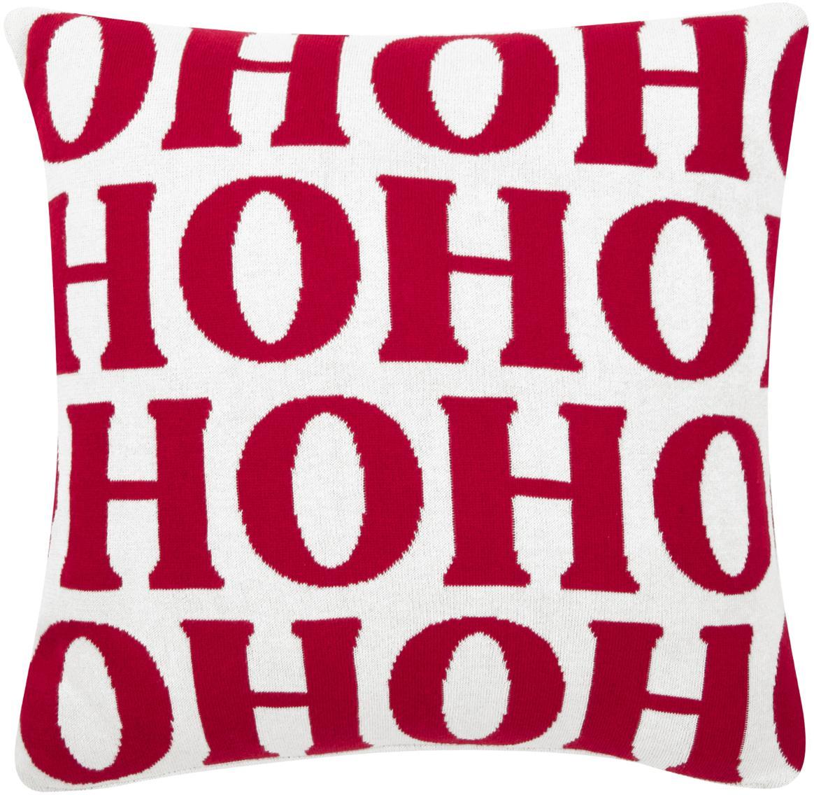 Federa arredo Ho ho ho, Cotone, Bianco crema, rosso, Larg. 45 x Lung. 45 cm