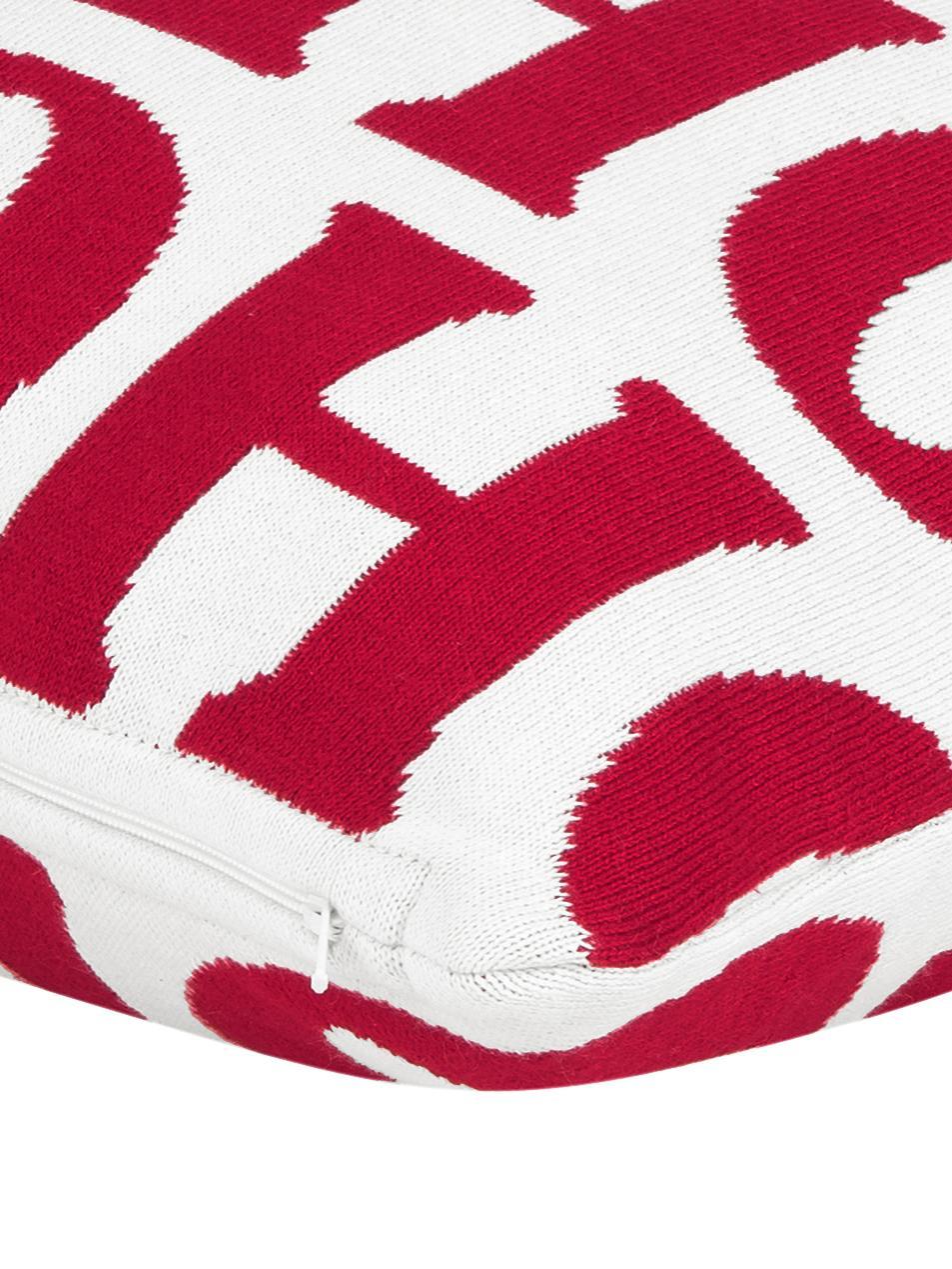 Kissenhülle Ho ho ho in Rot/Weiß, Baumwolle, Cremeweiß, Rot, 45 x 45 cm