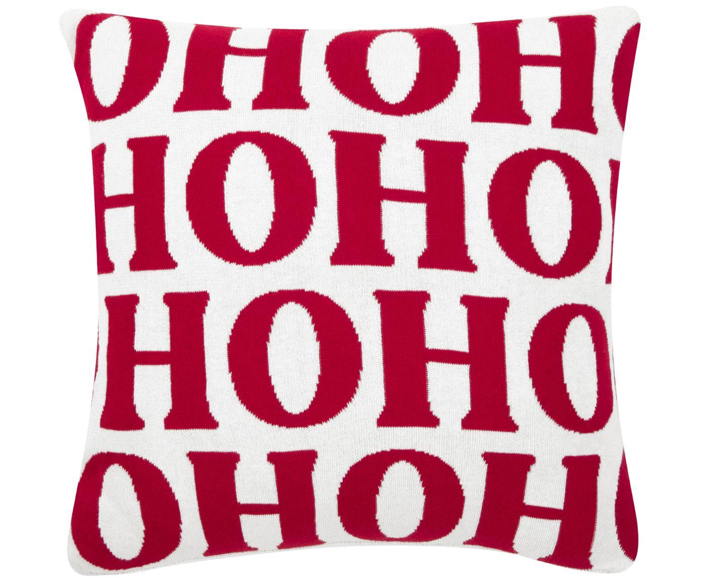 Kussenhoes Ho ho ho, 100% katoen, Crèmewit, rood, 45 x 45 cm